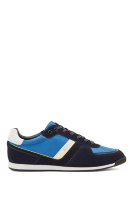 Low-top trainers in leather, suede and technical fabric, Light Blue