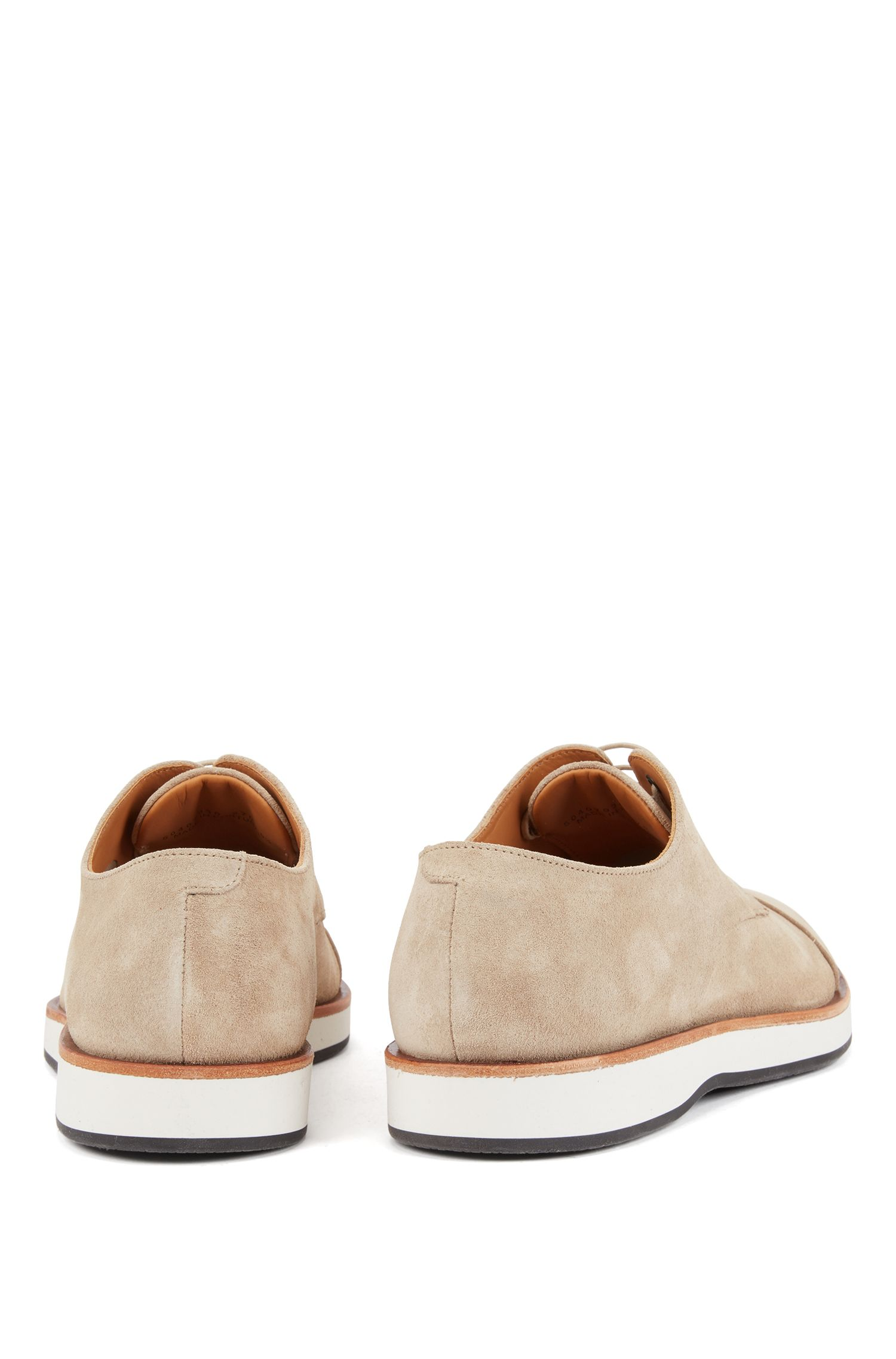 Casual Derby shoes in calf suede with monogram sole, Light Beige