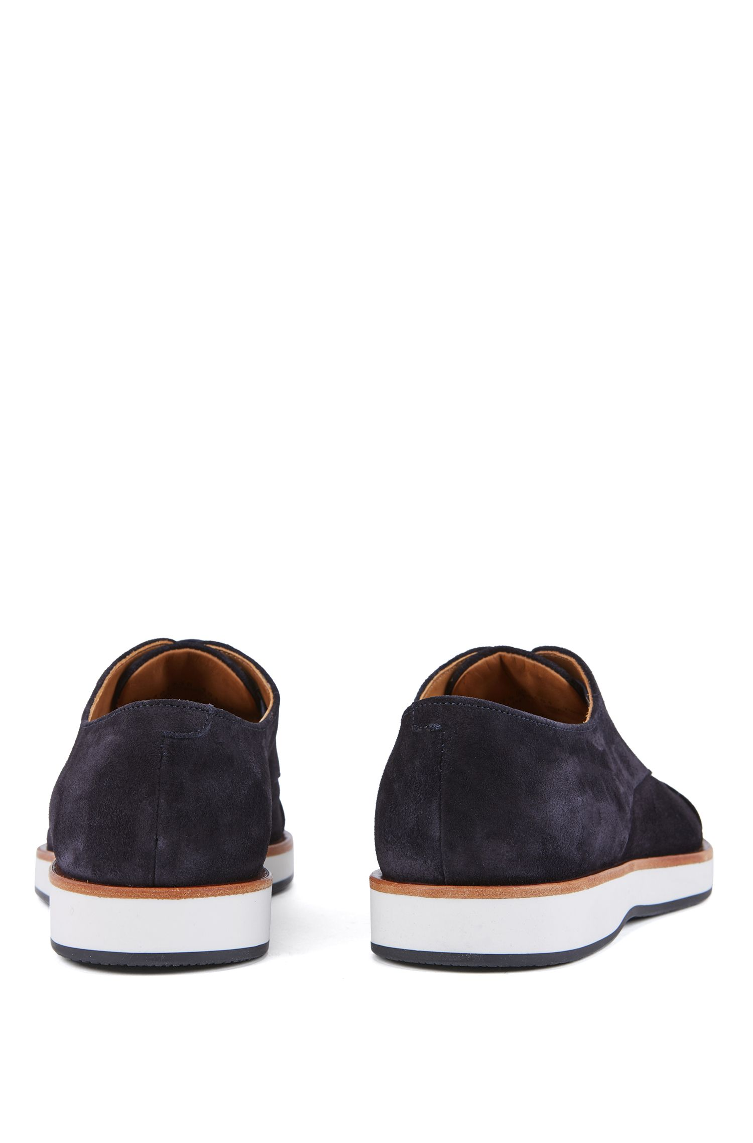 Casual Derby shoes in calf suede with monogram sole, Dark Blue