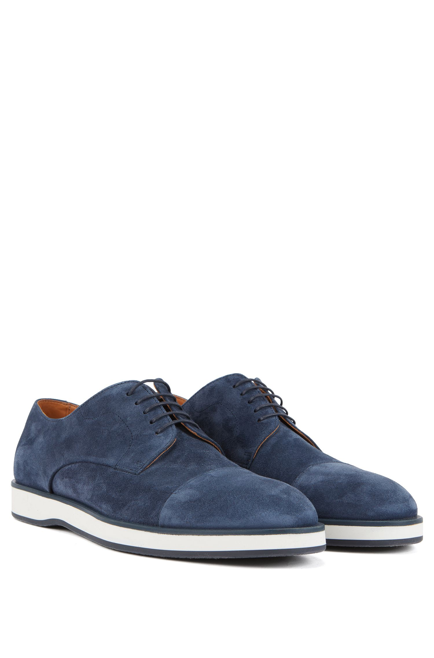 Casual Derby shoes in calf suede with monogram sole, Blue