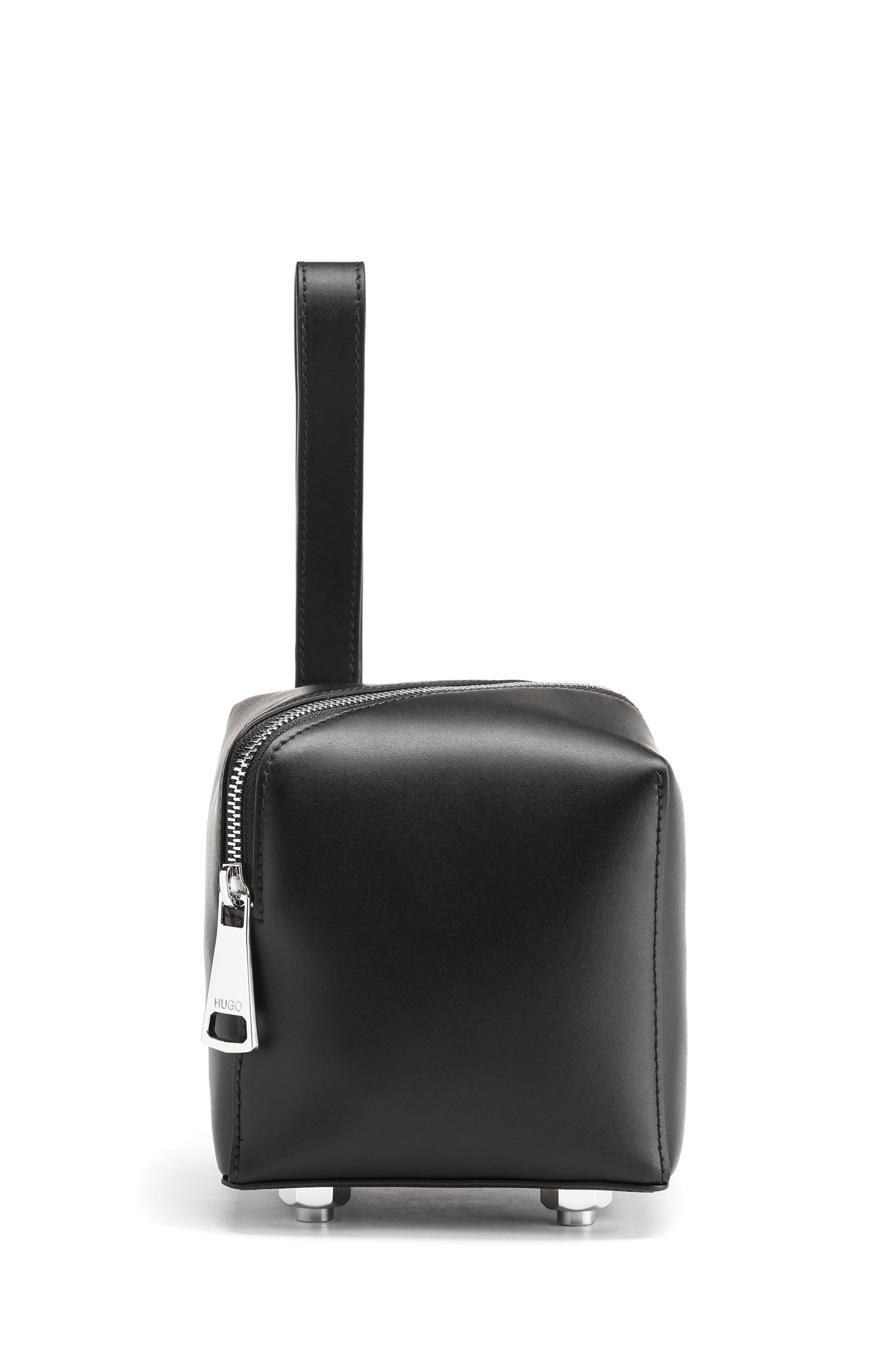 Square mini bag in Italian leather with asymmetric zipper, Black