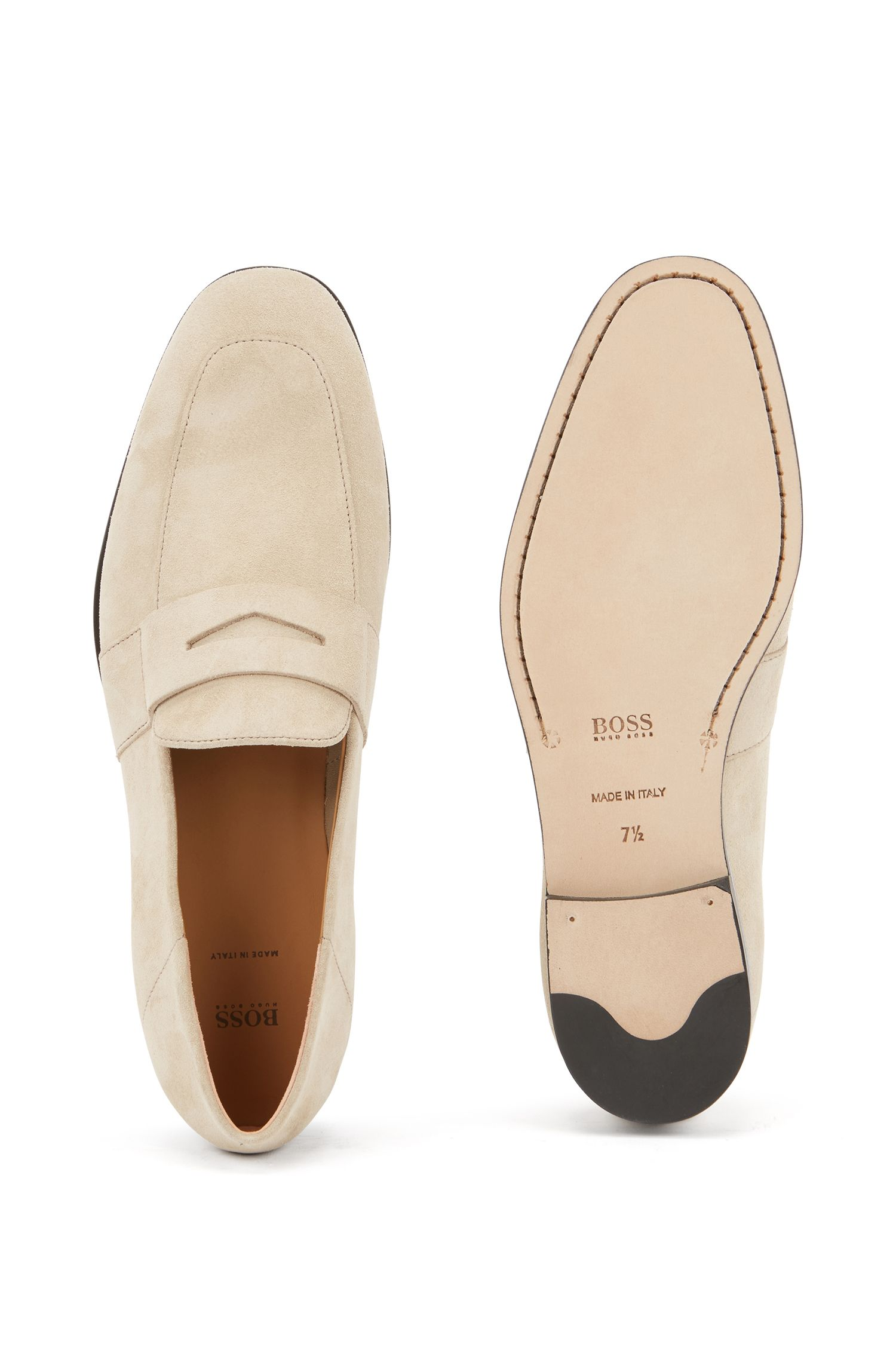 Italian-made loafers in calf suede with contrast midsole, Light Beige