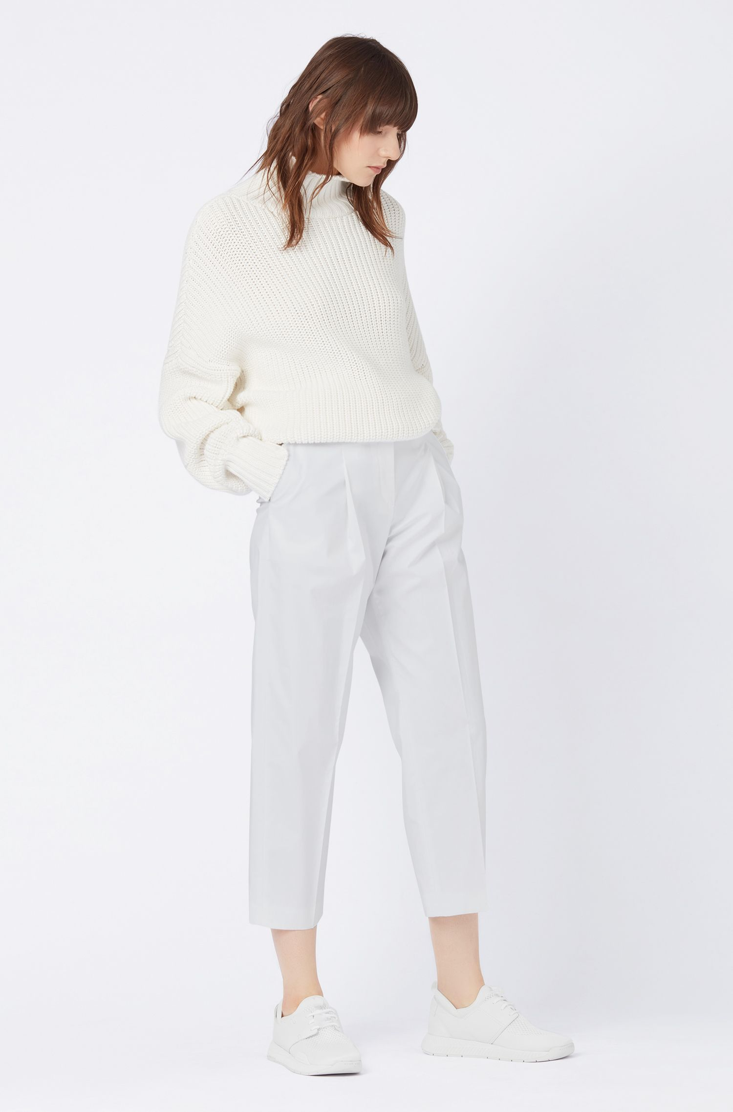 Relaxed-fit cropped pants in paper-touch stretch cotton, White
