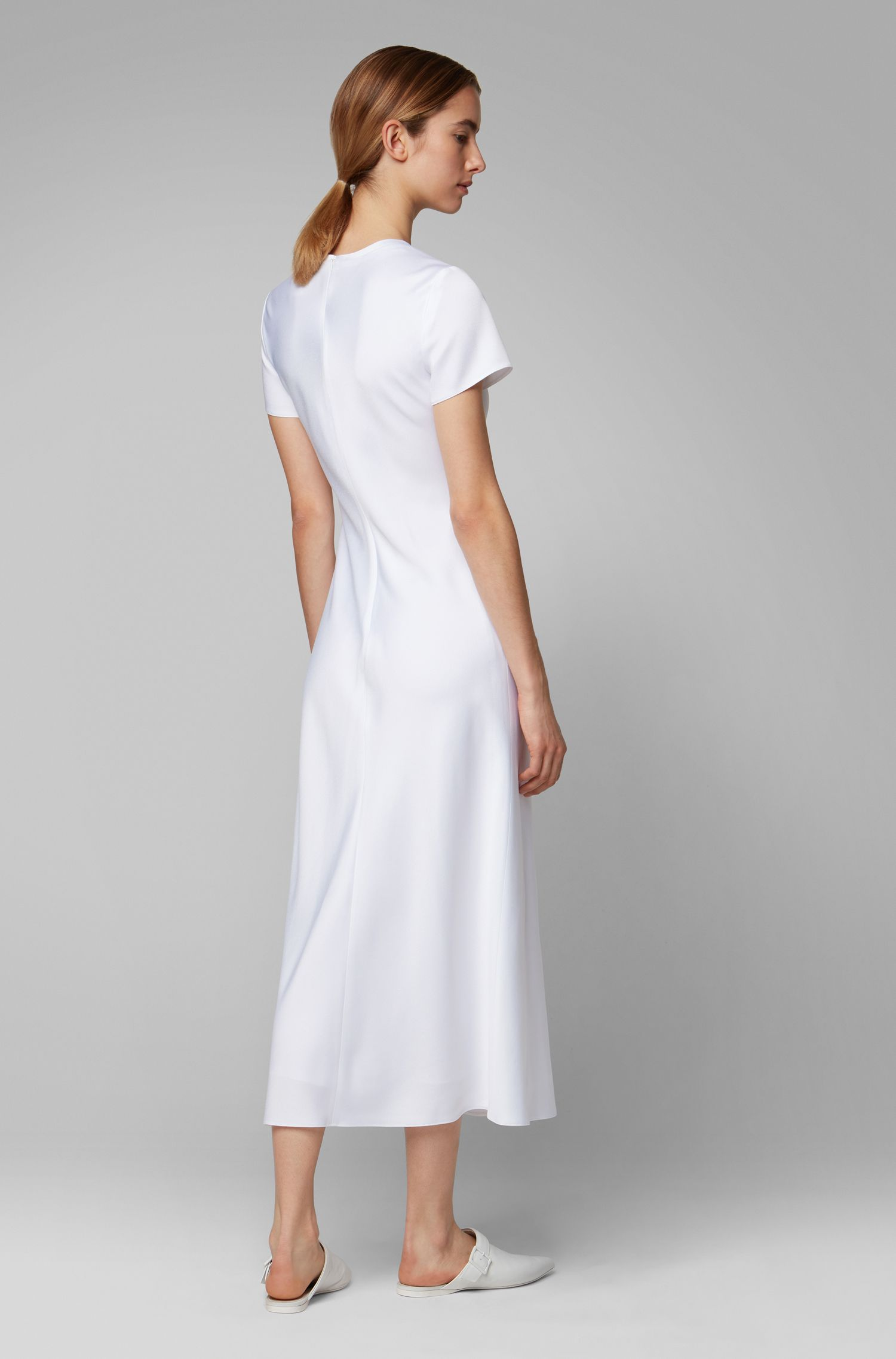 Midi-length dress in lustrous Italian fabric, White