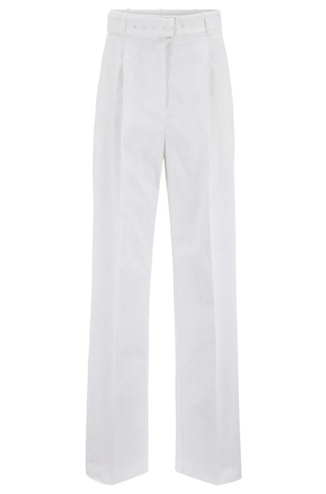 Belted wide-leg pants in Portuguese stretch cotton, White