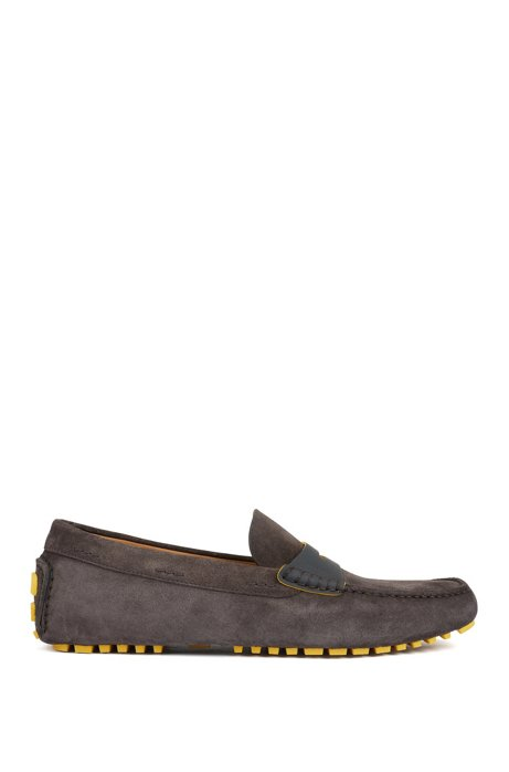 Italian-made moccasins in calf suede with penny trim, Dark Grey