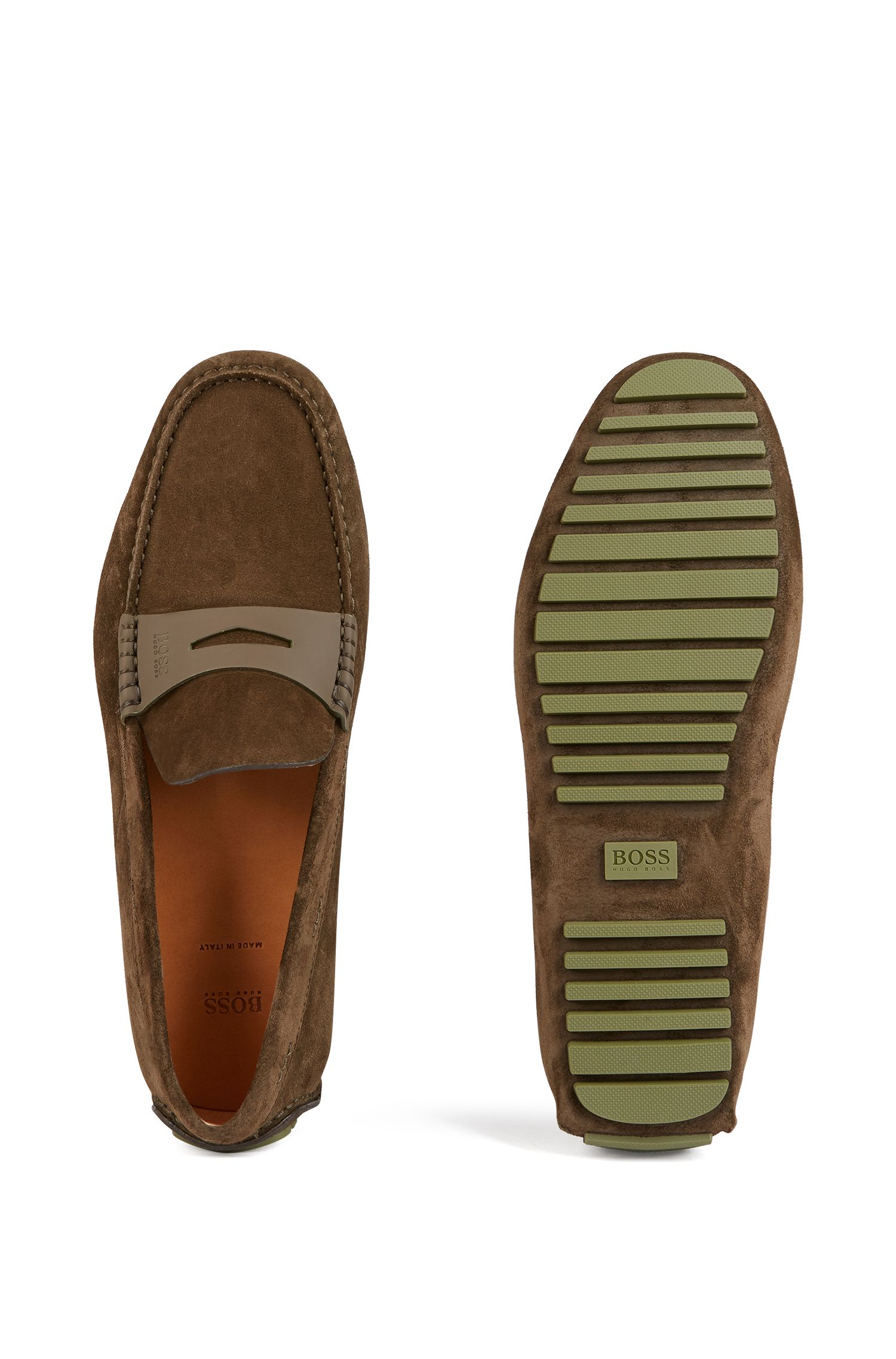 Italian-made moccasins in calf suede with penny trim, Dark Green