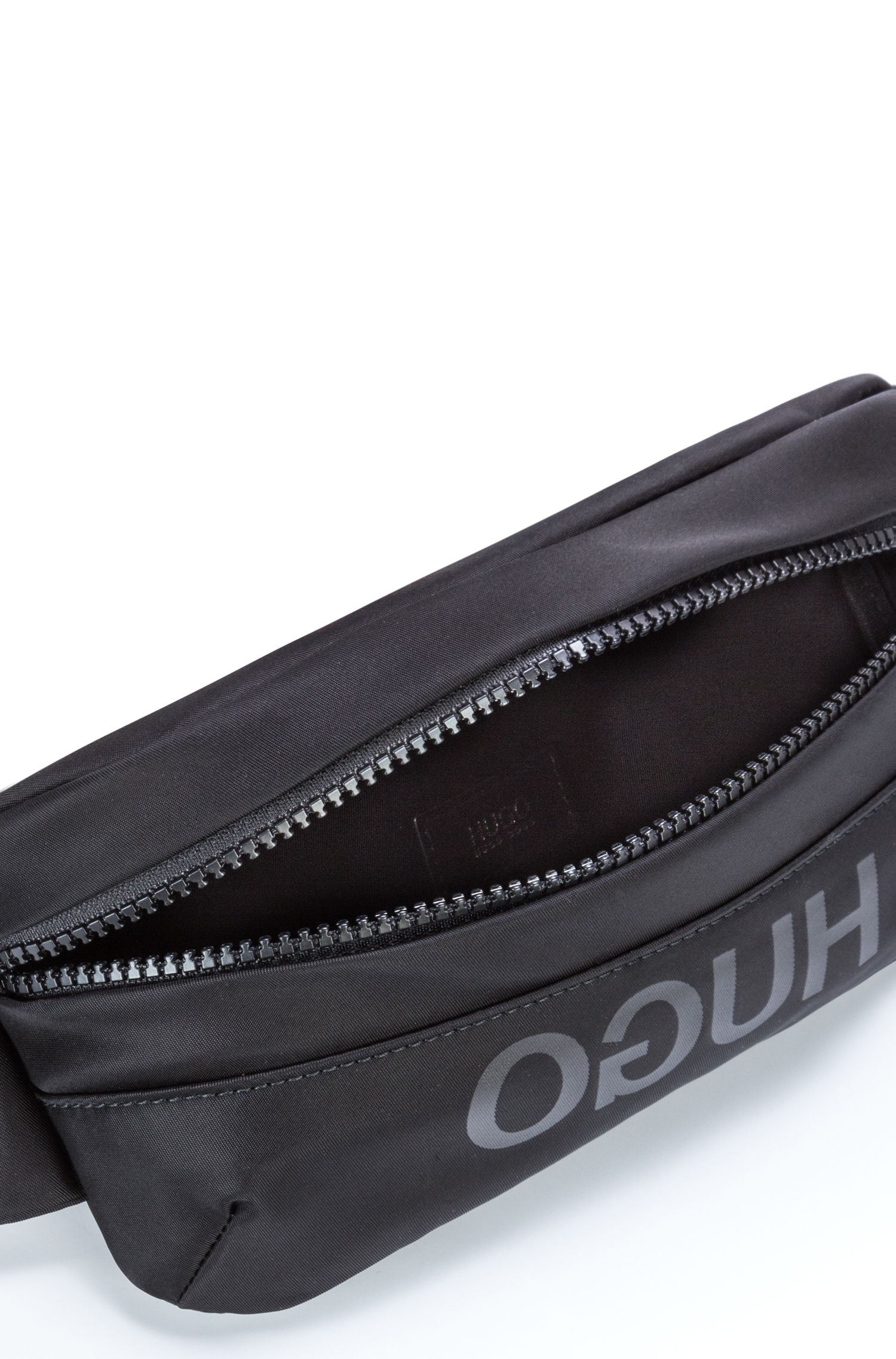 Unisex belt bag in nylon gabardine with leather trims, Black