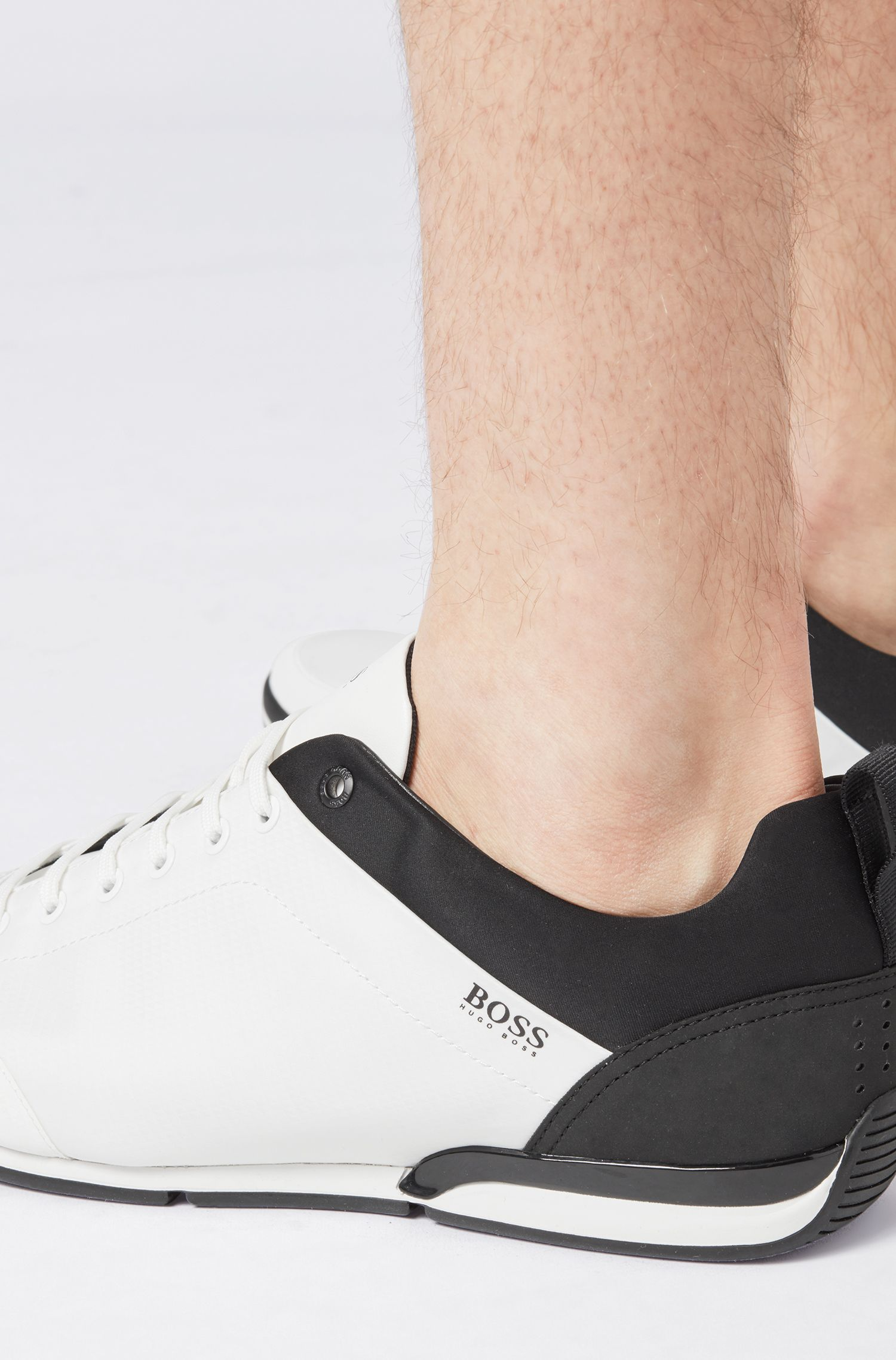 Low-profile sneakers with graphic texture, Open White