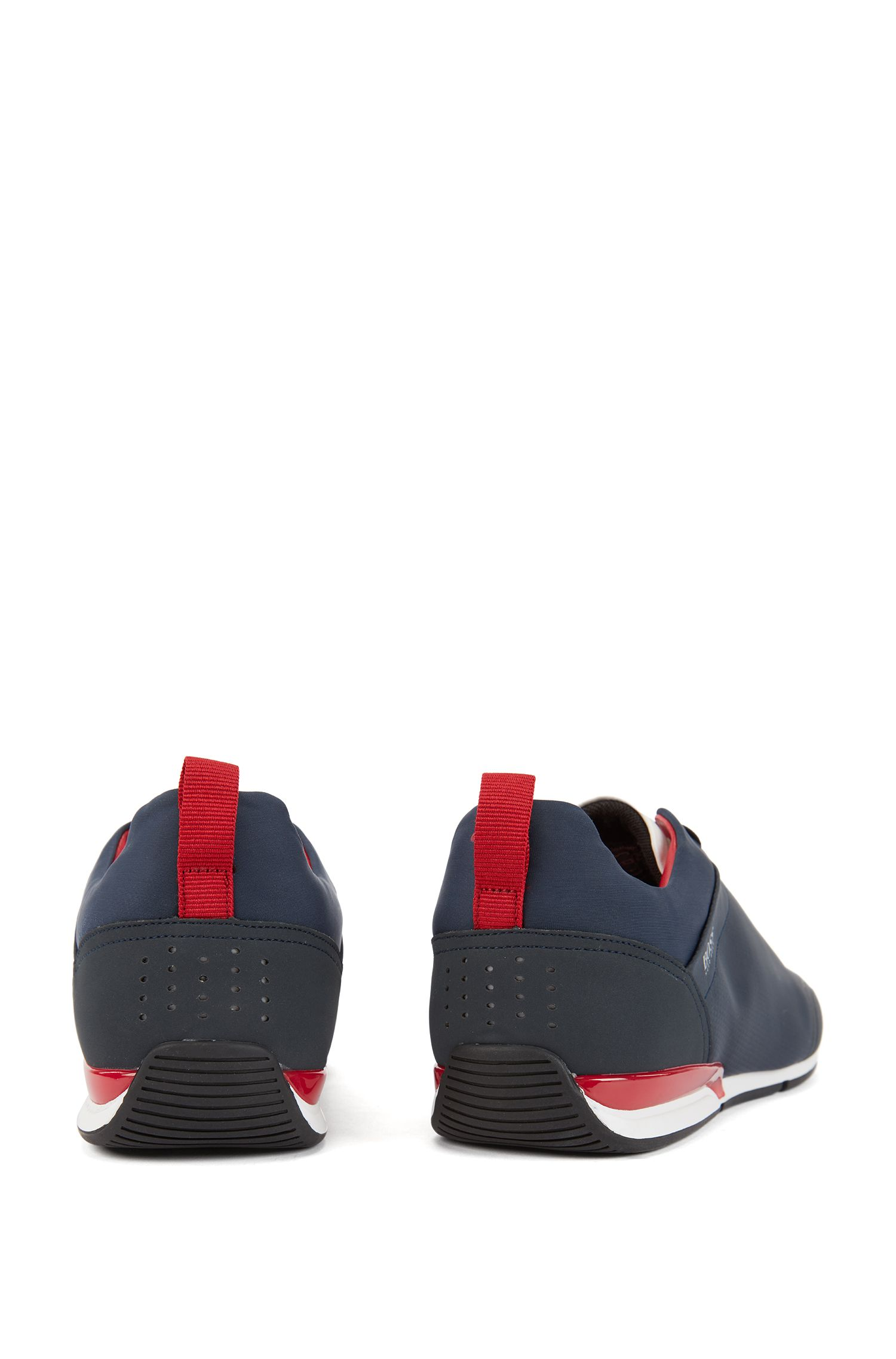 Low-profile sneakers with graphic texture, Dark Blue