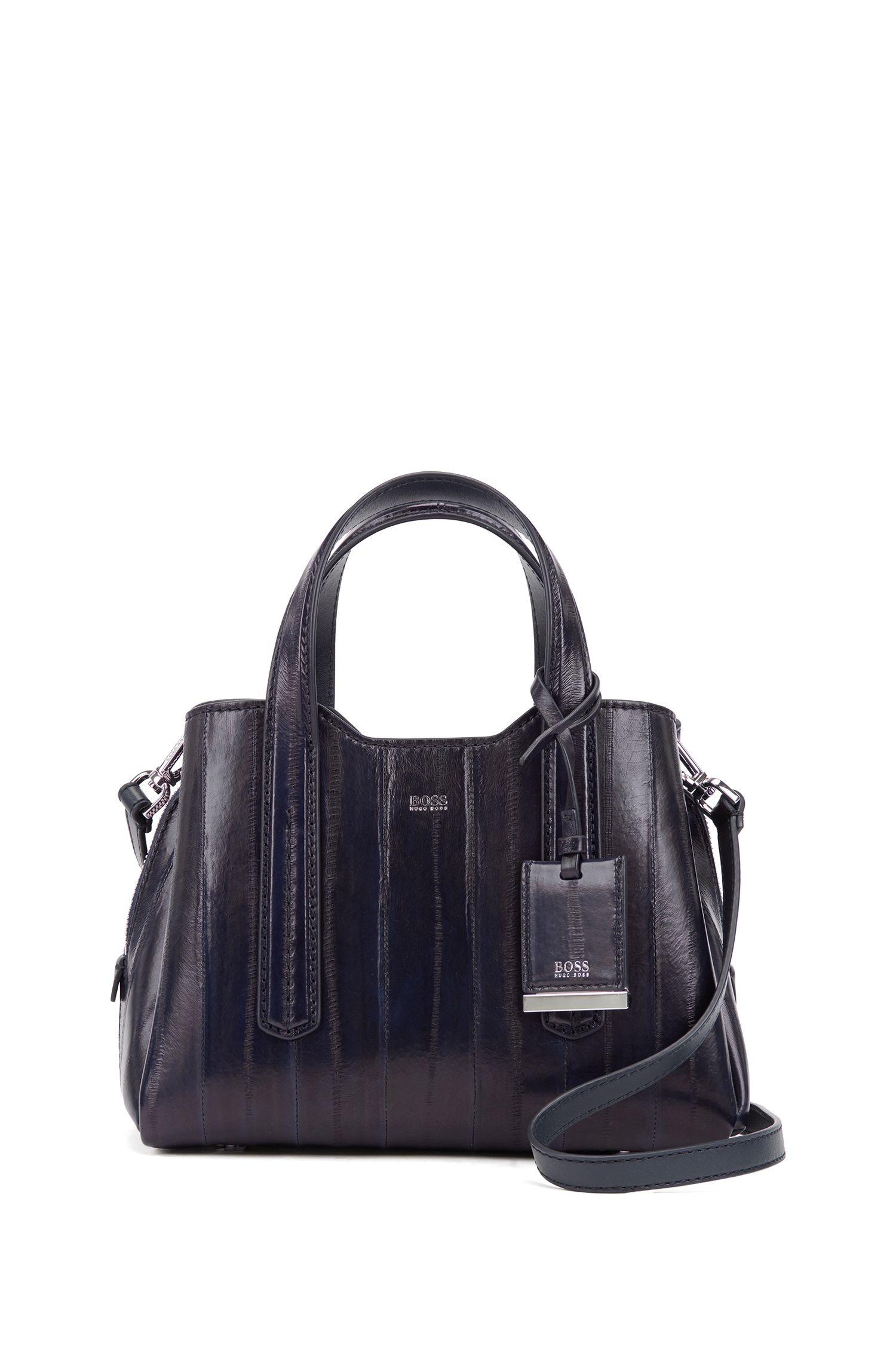 Mini tote bag in glossy Italian eelskin, Dark Blue