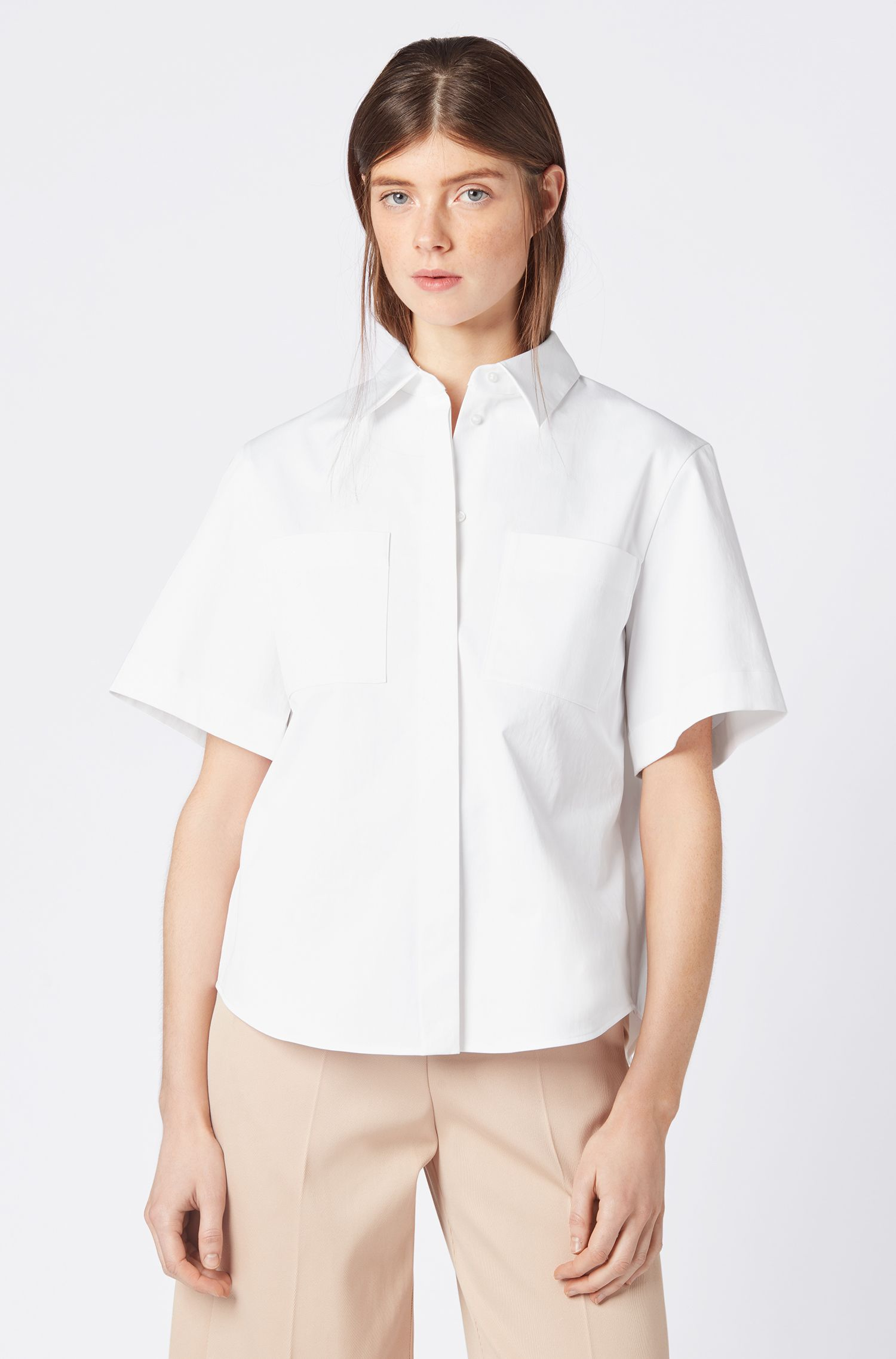 Relaxed-fit blouse in Portuguese stretch-cotton twill, White