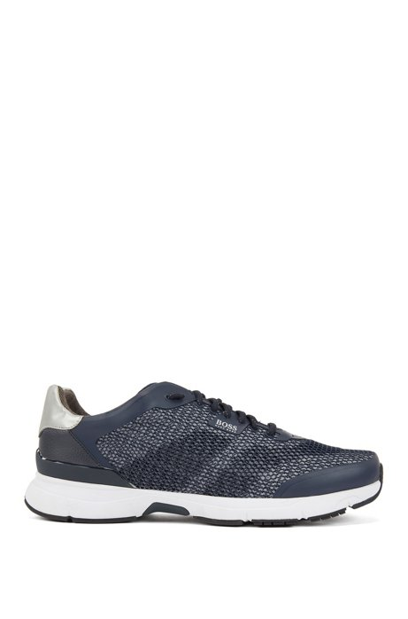 High-performance sneakers in open mesh with printed backing, Dark Blue