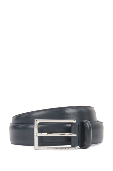 Italian-made belt in vegetable-tanned leather, Dark Blue