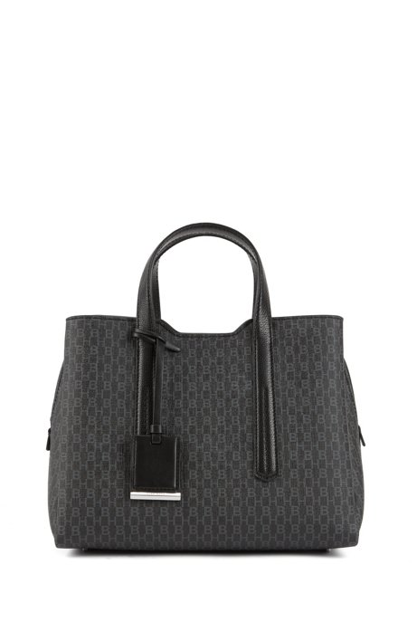 Monogram-print tote bag with leather trims, Black