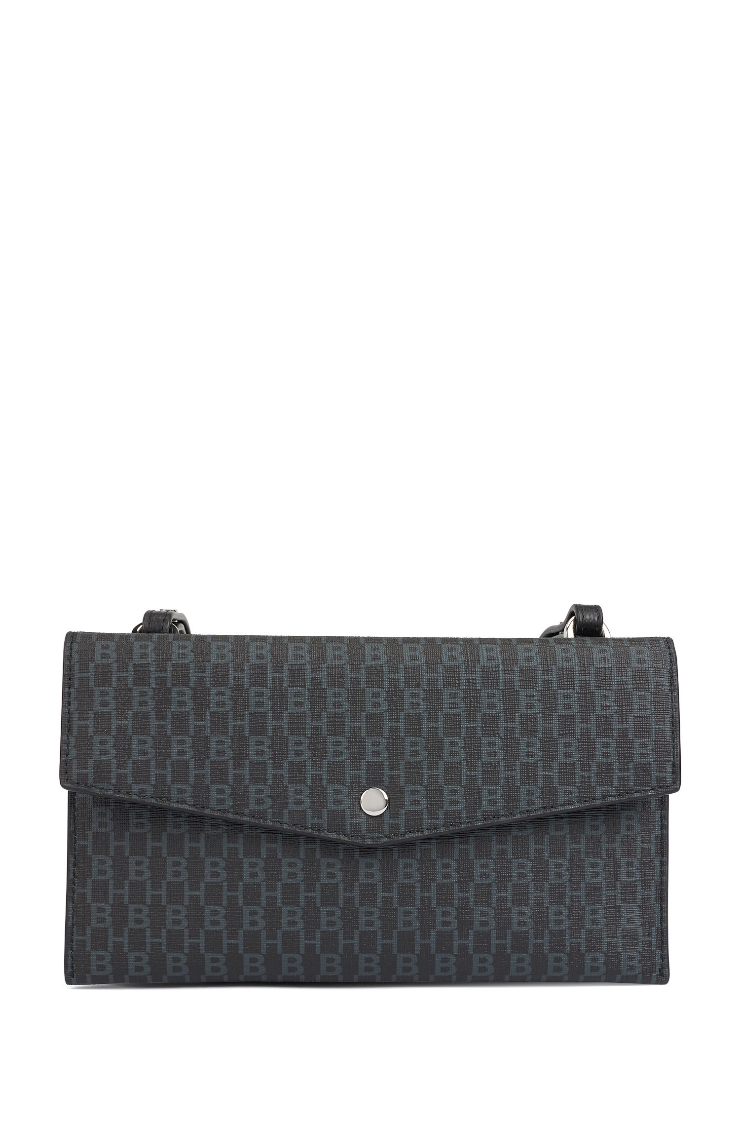Mini bag with monogram print and leather trims, Black