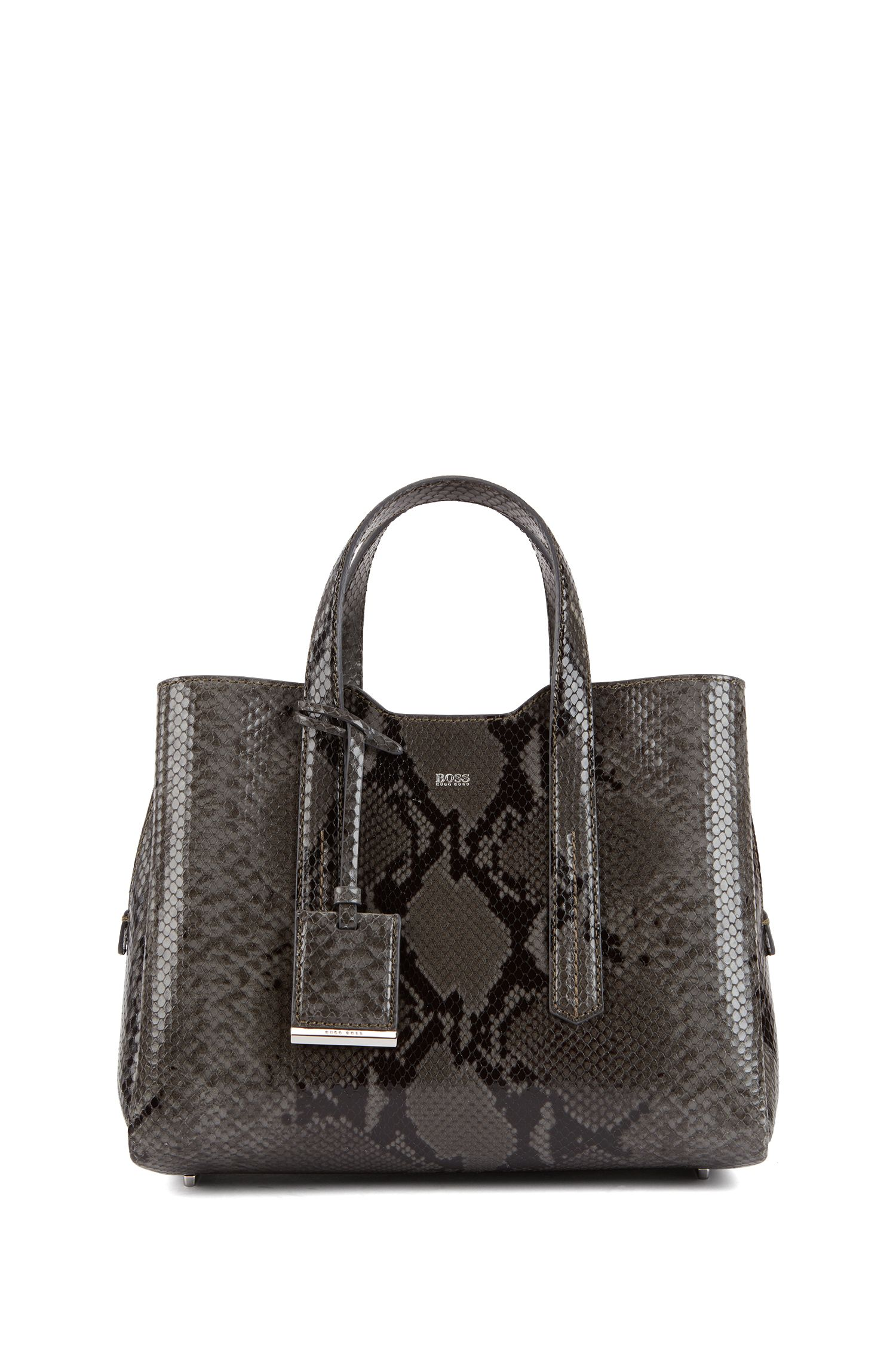 Tote bag in python-print Italian calf leather, Open Grey