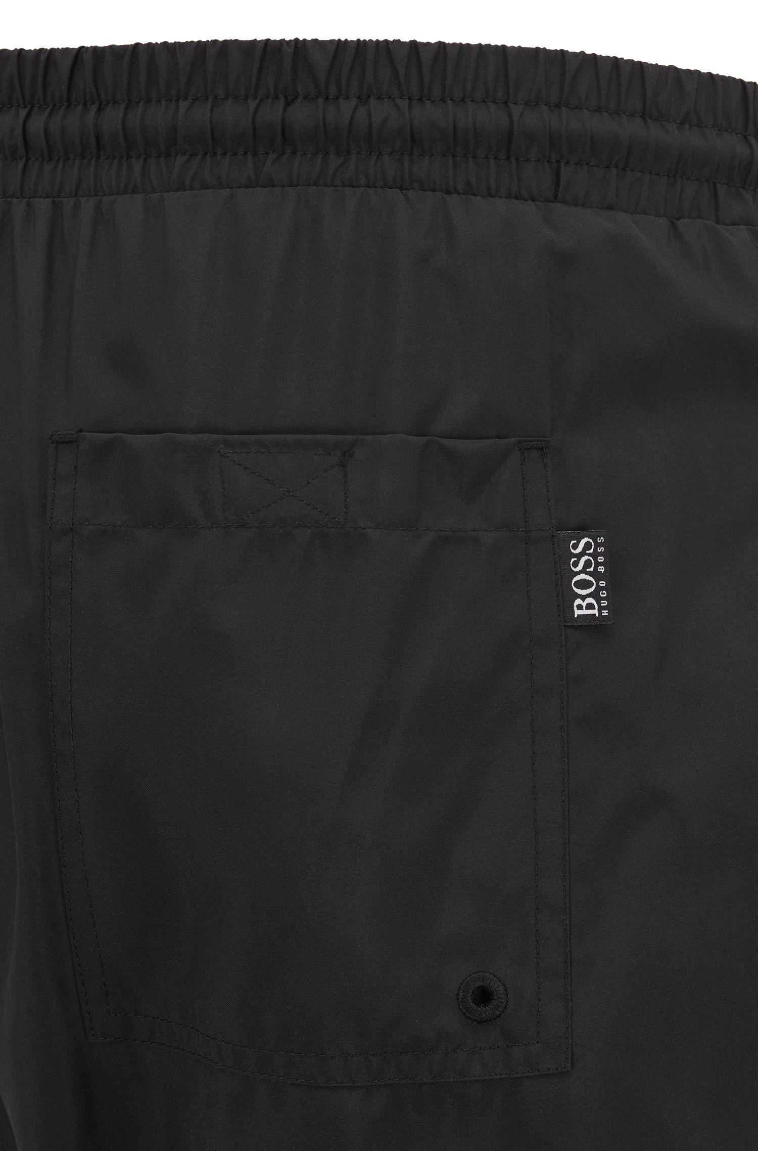 Medium-length swim shorts in quick-dry fabric, Black