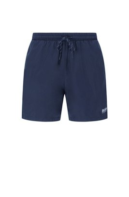 Medium-length swim shorts in quick-dry fabric, Dark Blue
