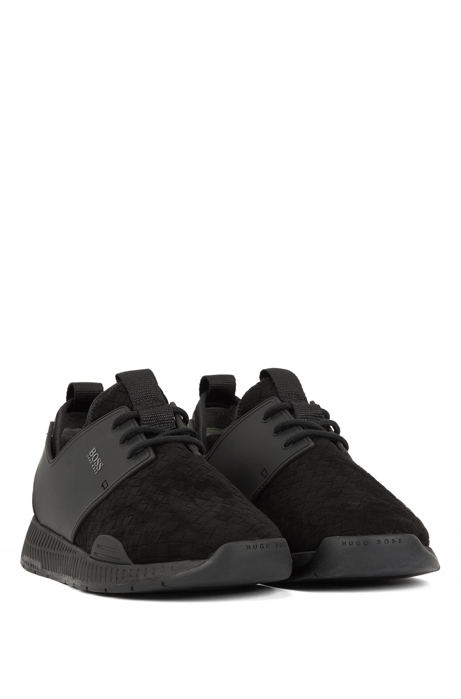 Running-style hybrid sneakers with EVA and rubber sole, Black