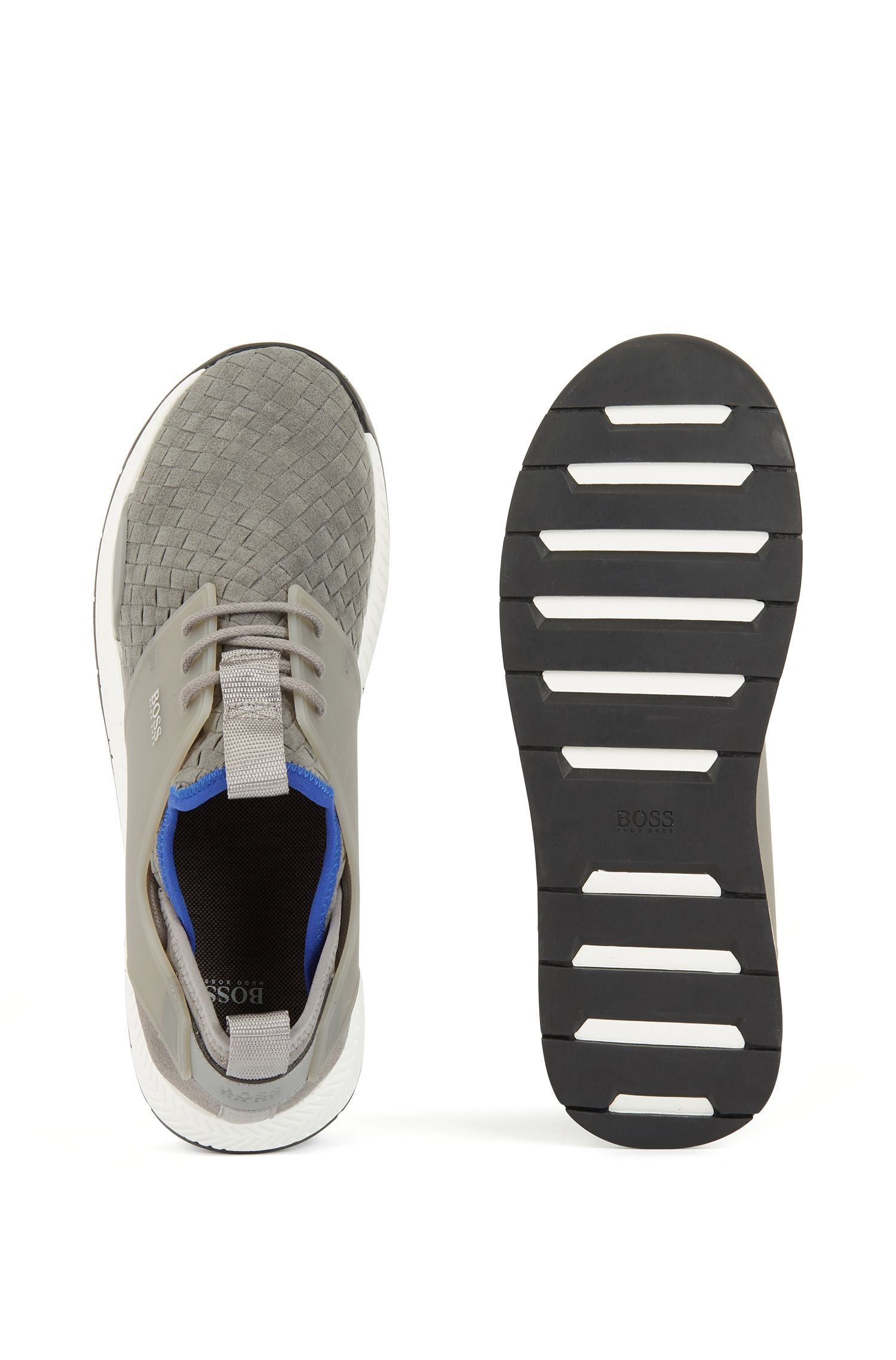 Running-style hybrid sneakers with EVA and rubber sole, Grey