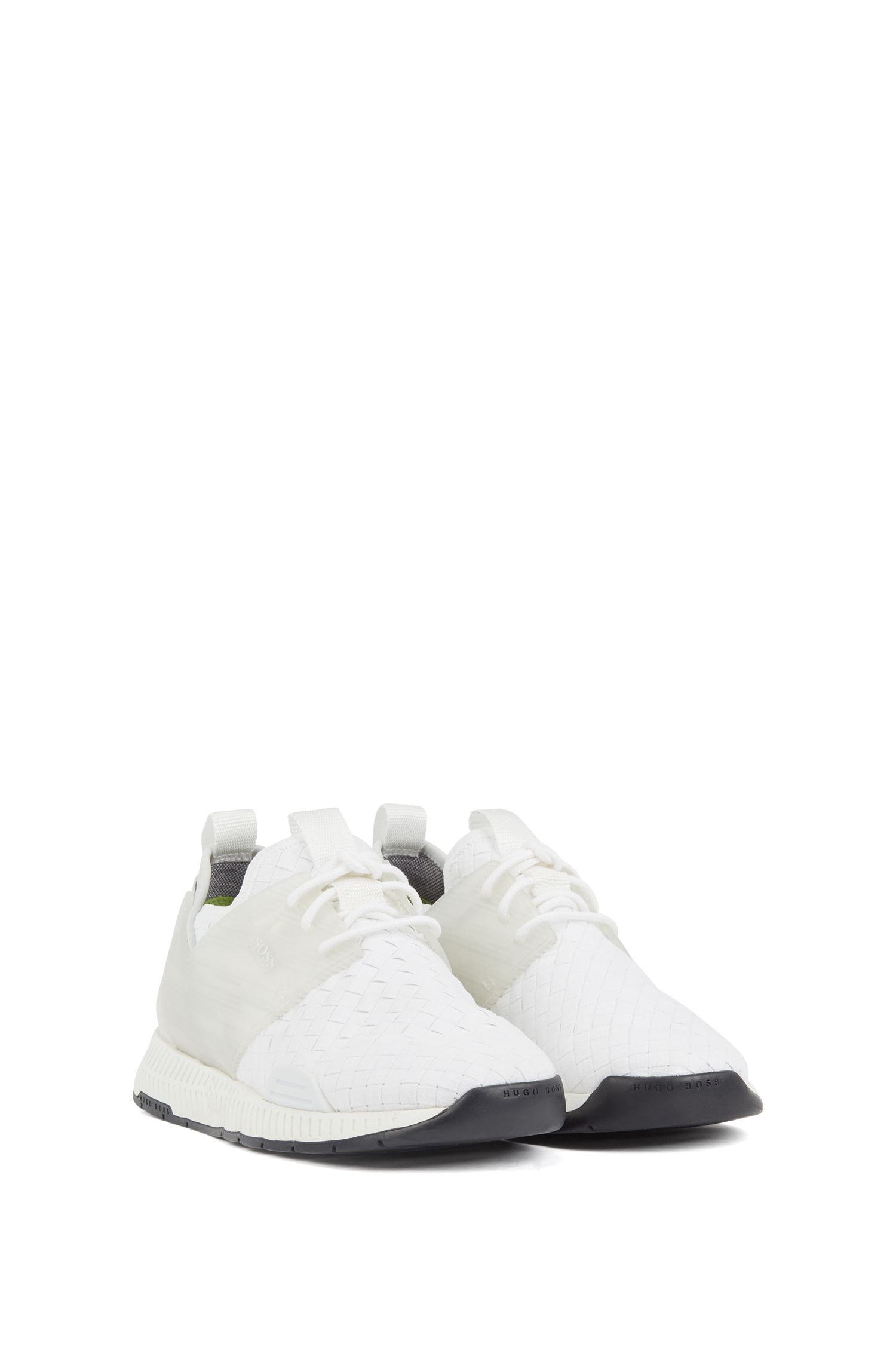 Running-style hybrid sneakers with EVA and rubber sole, White