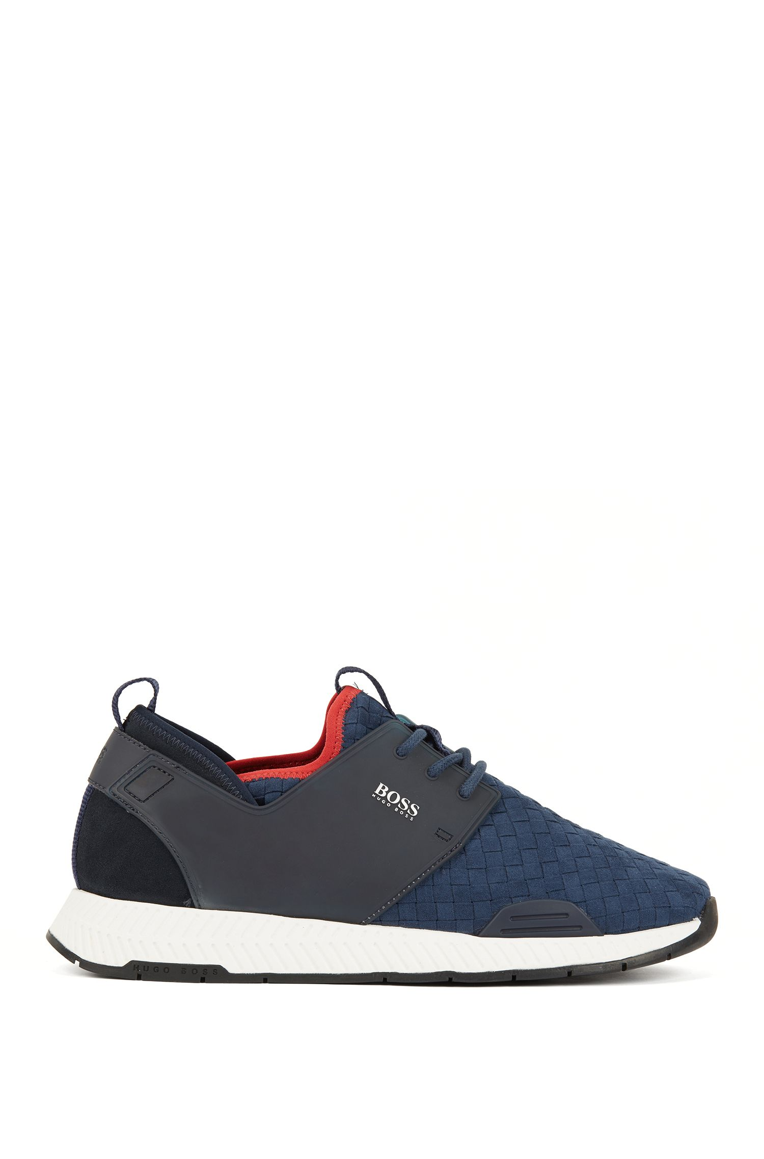 Running-style hybrid sneakers with EVA and rubber sole, Dark Blue