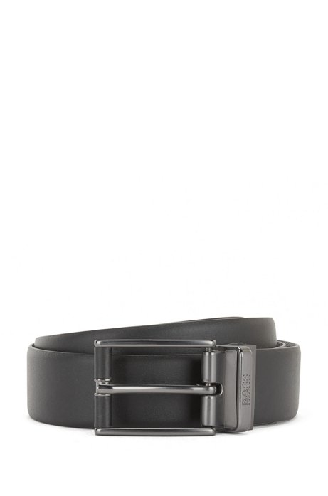 Reversible leather belt with leather-covered hardware, Black