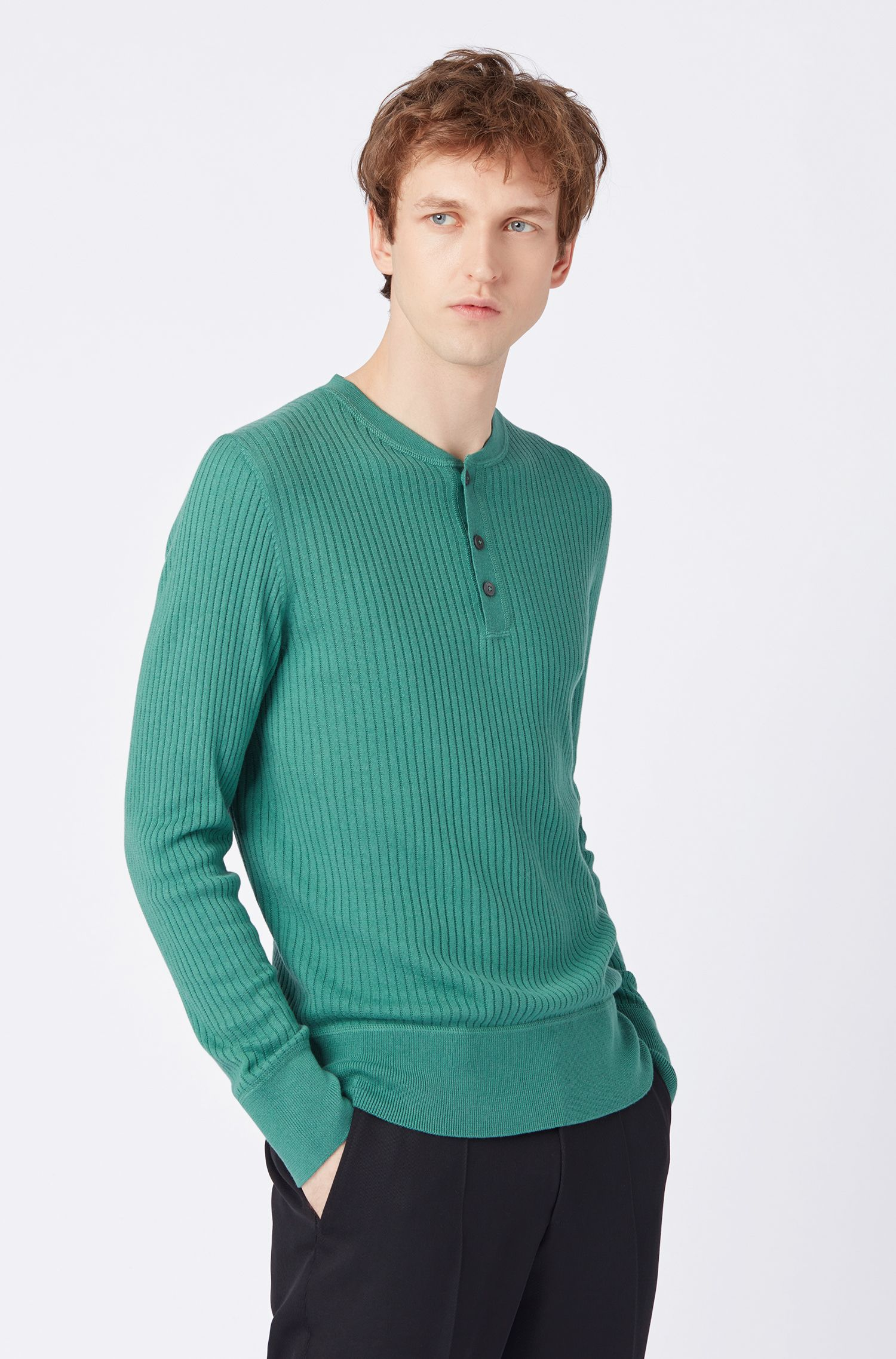 Slim-fit ribbed sweater with Henley neckline, Open Green
