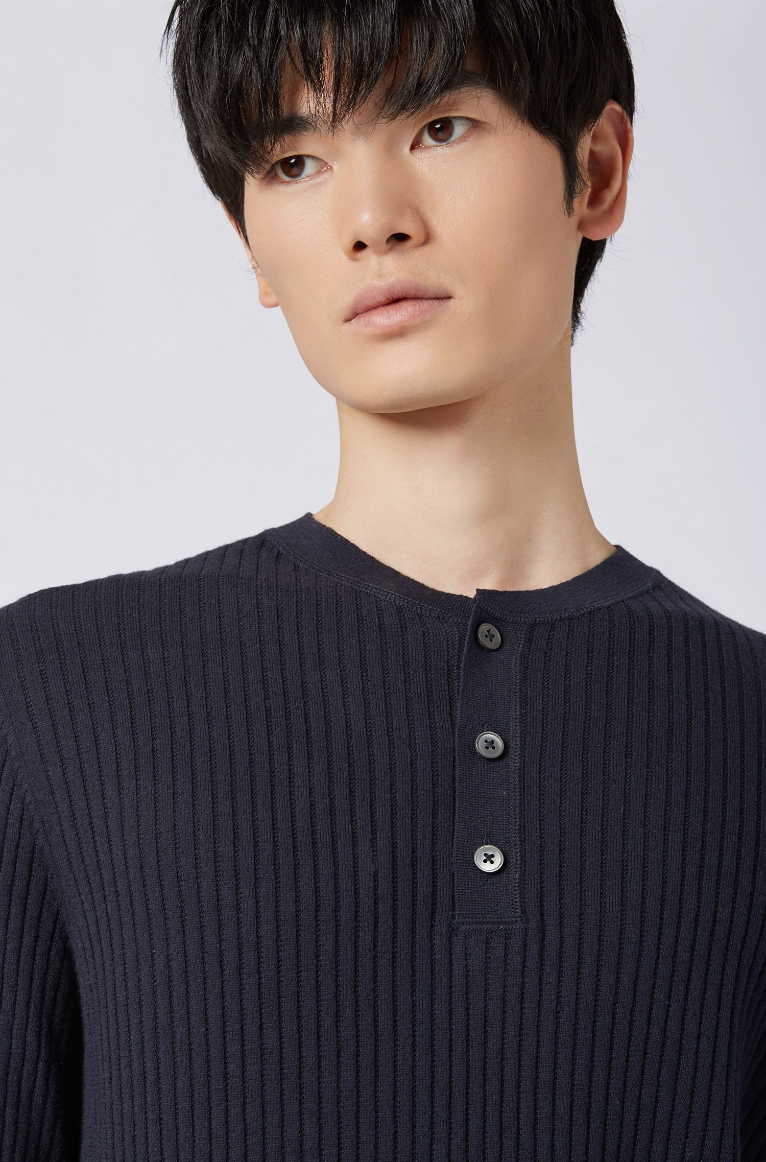 Slim-fit ribbed sweater with Henley neckline, Dark Blue