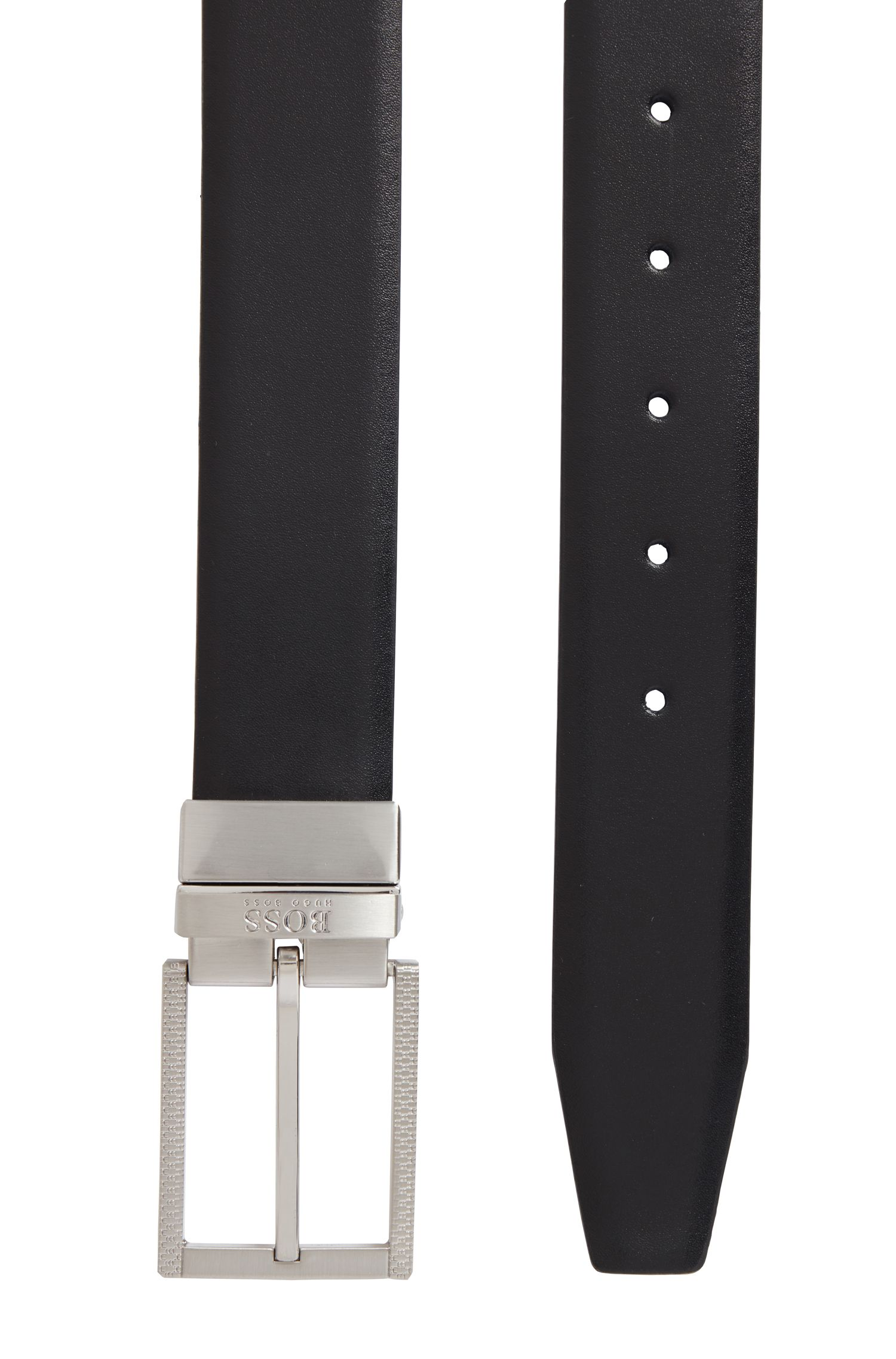 Reversible belt in leather with monogram details, Black