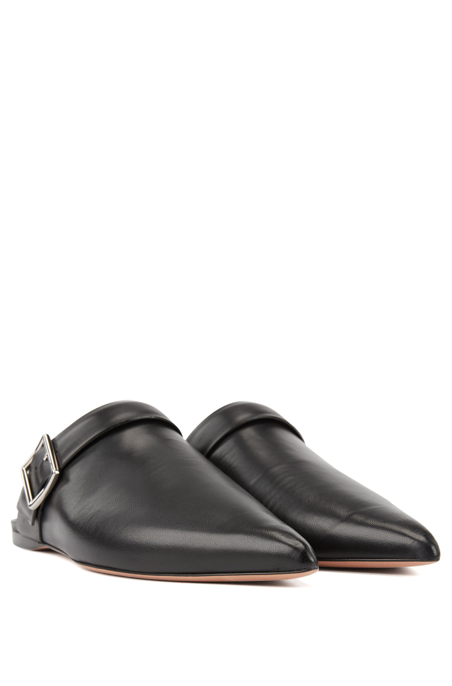 Backless loafers in Italian lambskin with pointed toe, Black