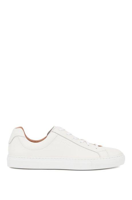 Low-cut sneakers in Italian leather, White