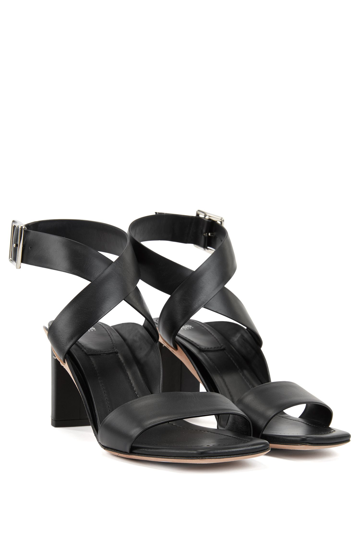 Block-heel leather sandals with wraparound straps, Black