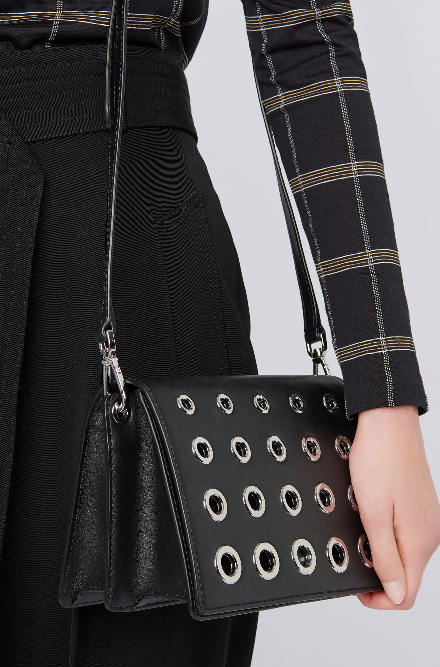 Crossbody bag in smooth Italian leather with polished eyelets, Black