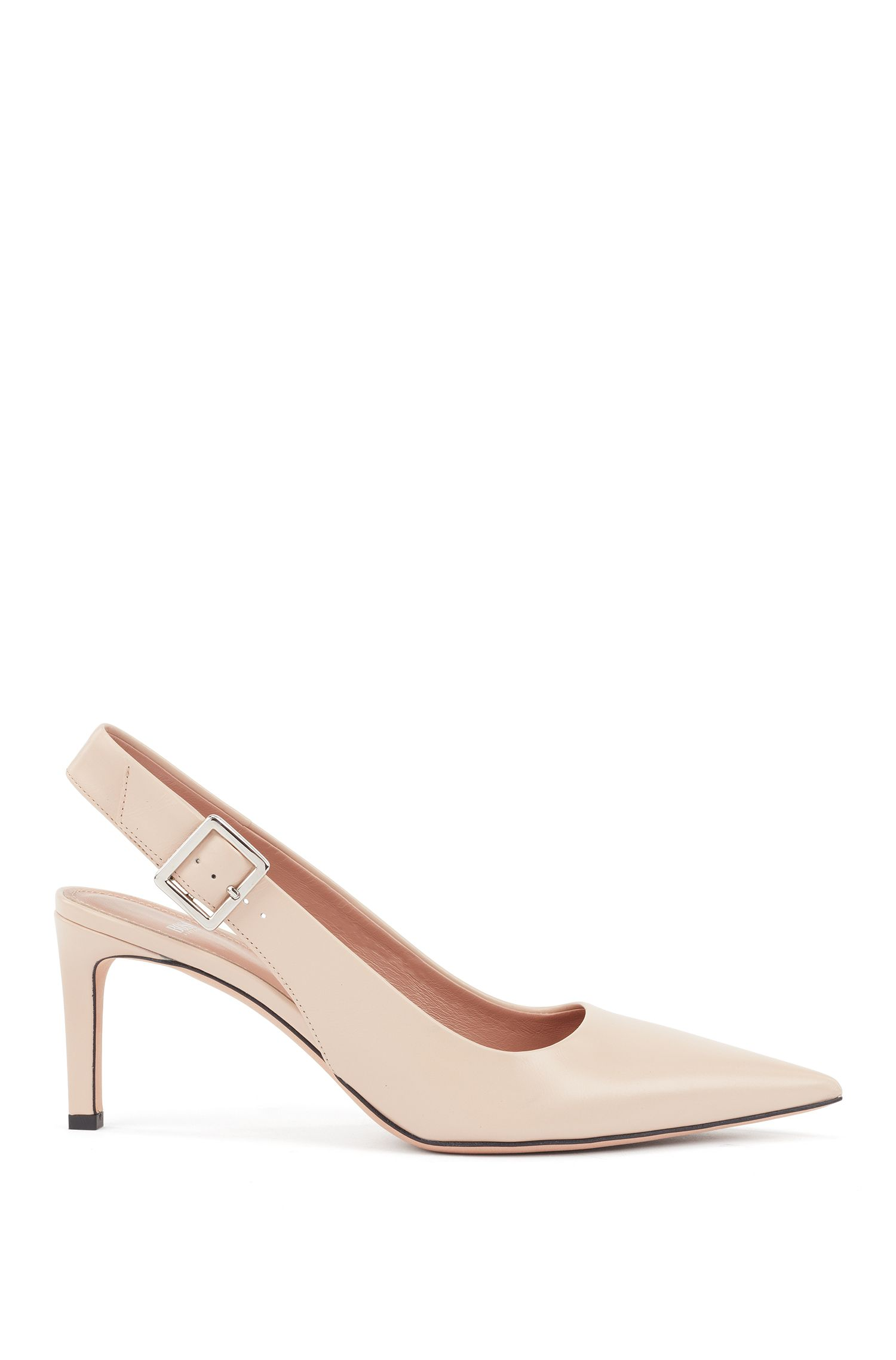 Slingback pumps in calf leather with buckle detail, Light Beige