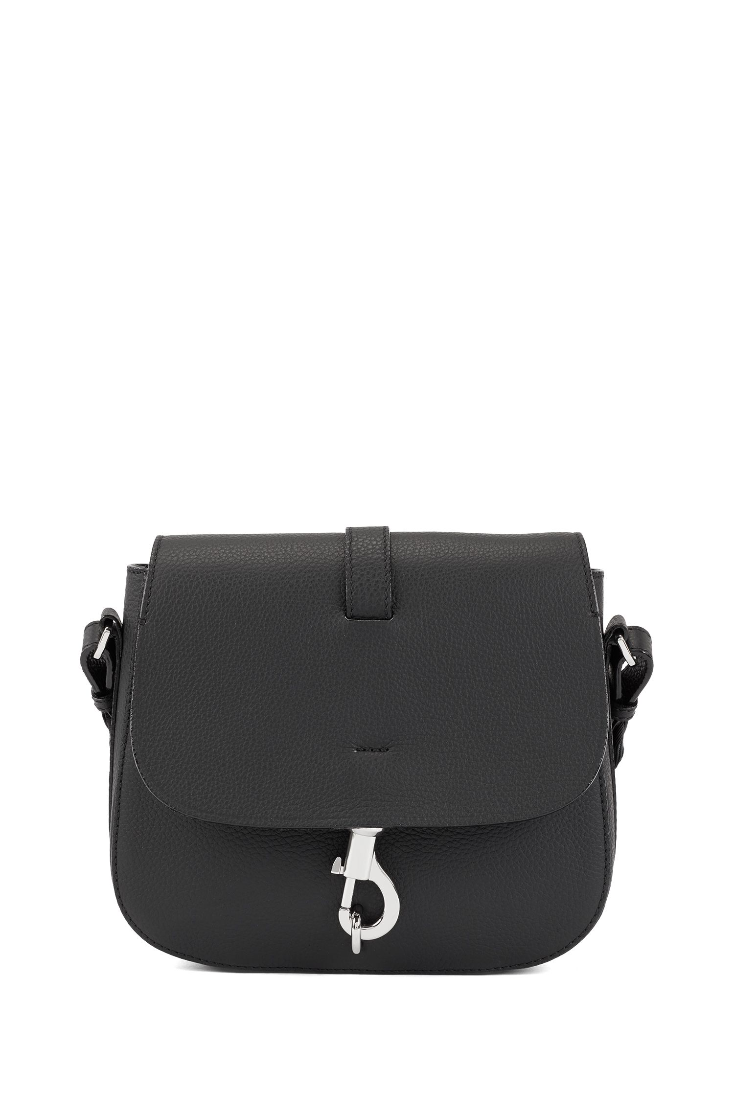 Cross-body saddle bag in grainy Italian leather, Black