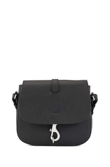 4fa318959ac BOSS - Cross-body saddle bag in grainy Italian leather