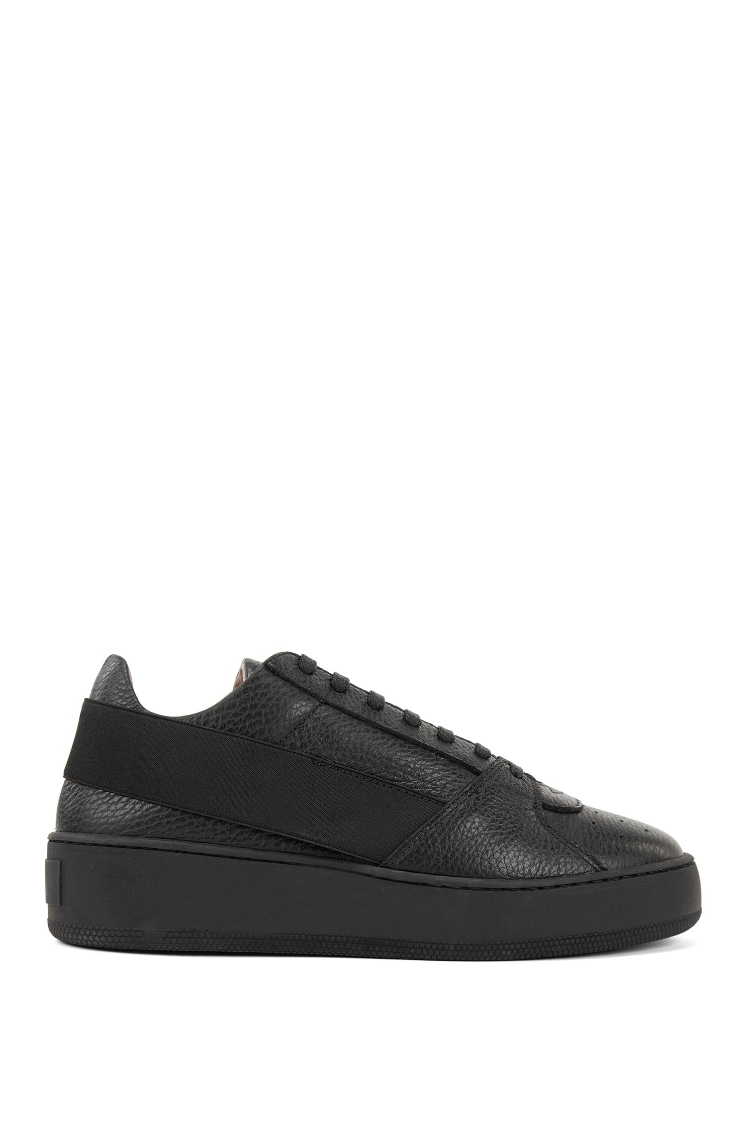 Low-top leather sneakers with elastic strap and platform sole, Black