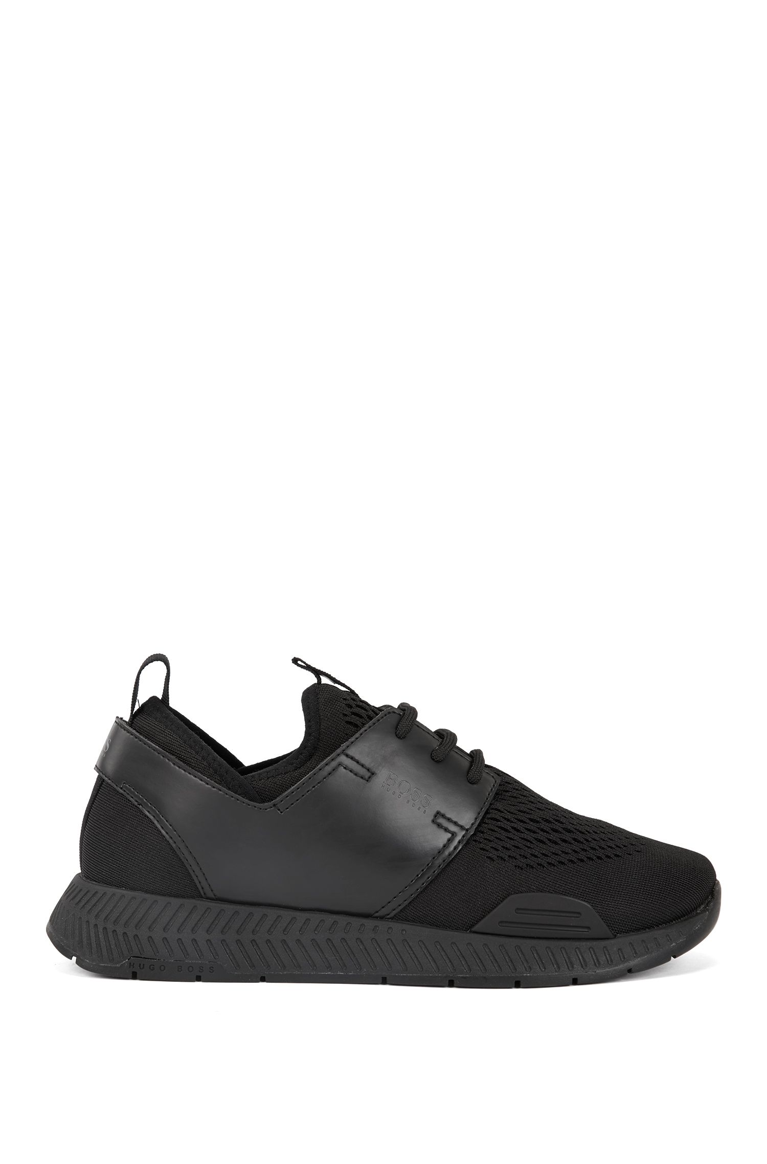 Unisex low-top sneakers with perforated mesh uppers, Black