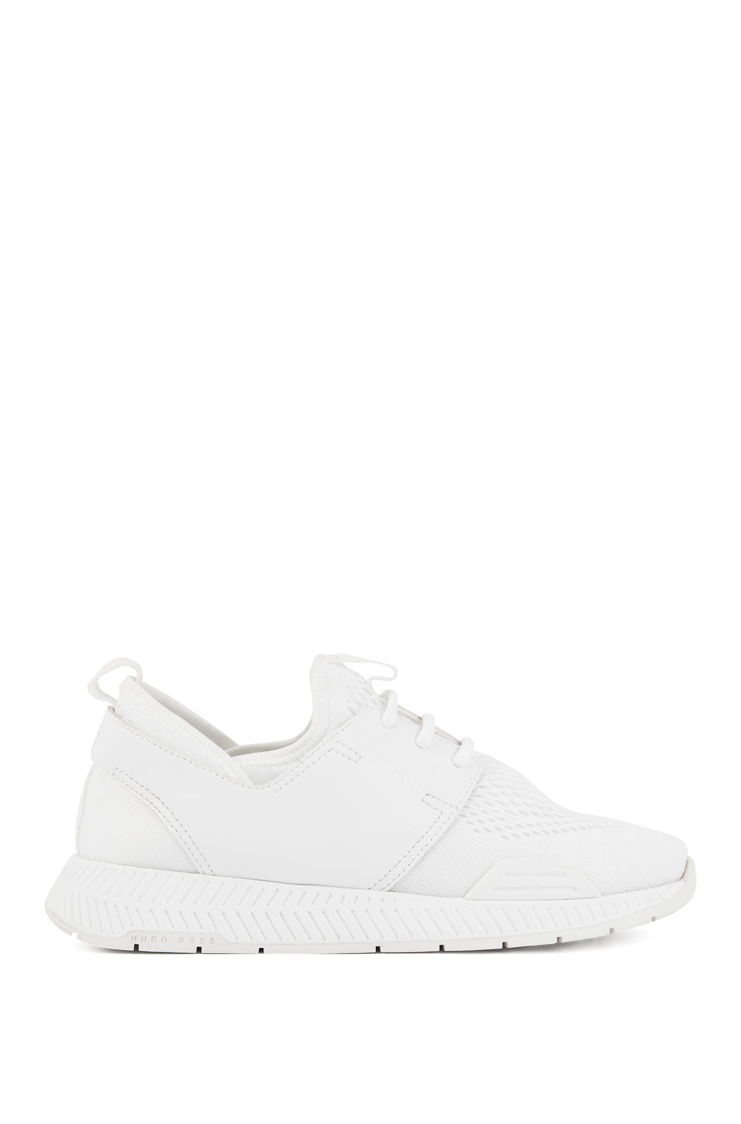 Unisex low-top sneakers with perforated mesh uppers, White
