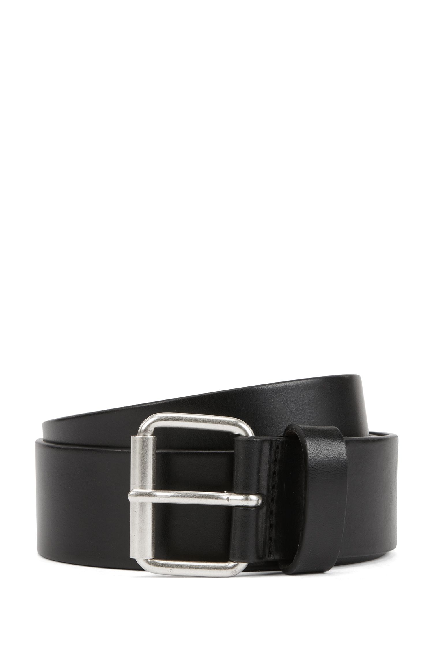 Vegetable-tanned-leather belt with roller buckle and metal tip, Black