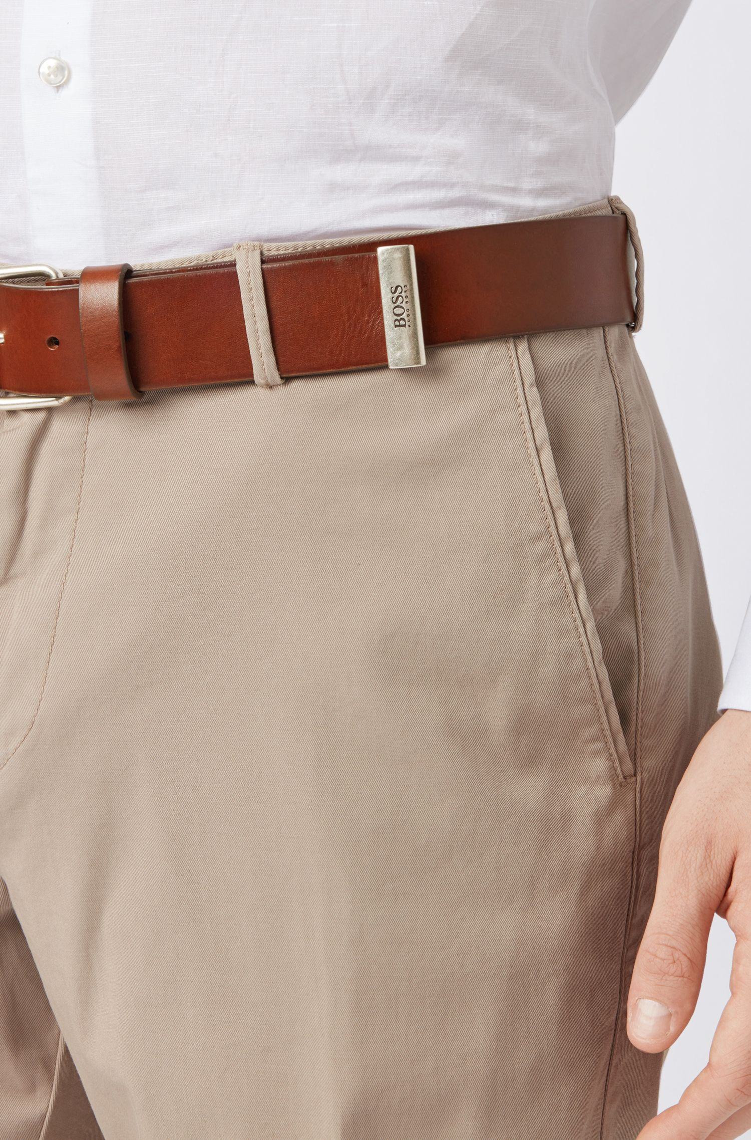 Vegetable-tanned-leather belt with roller buckle and metal tip, Brown