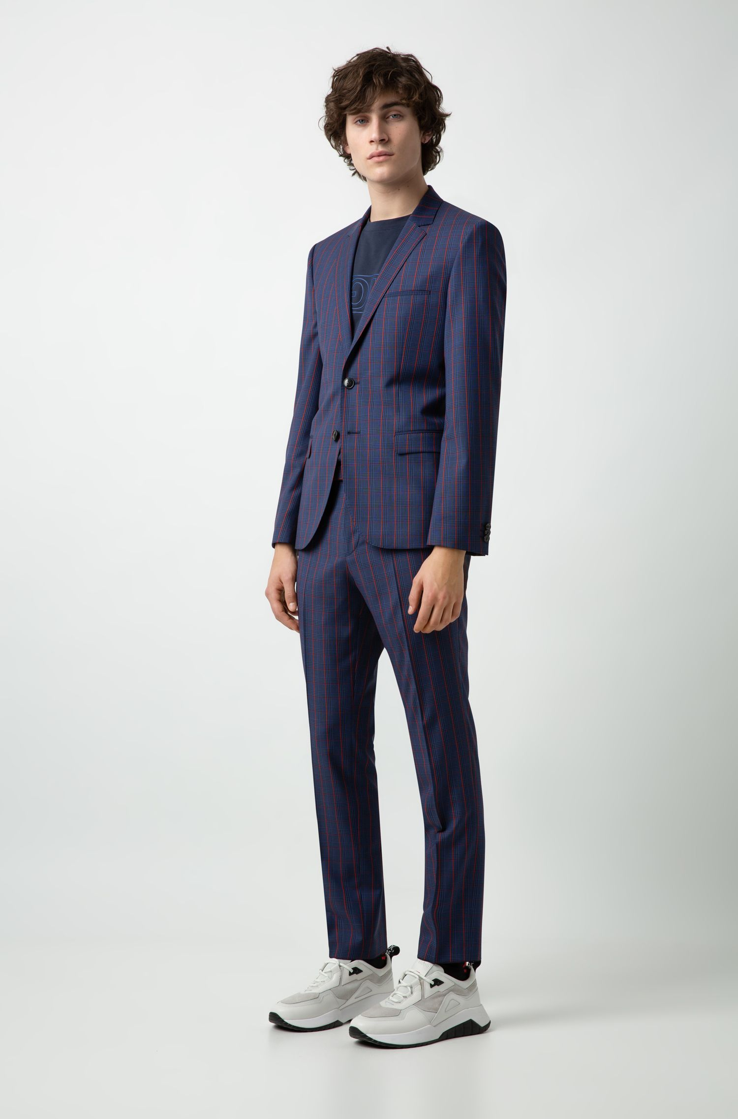 Extra-slim-fit virgin-wool suit with colorful check, Blue