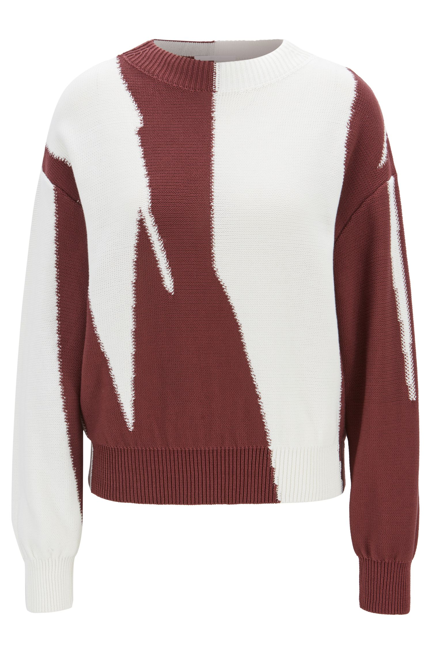 Intarsia color-block sweater in cotton, Patterned