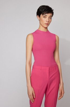 Slim-fit sleeveless top in a ribbed knit, Pink