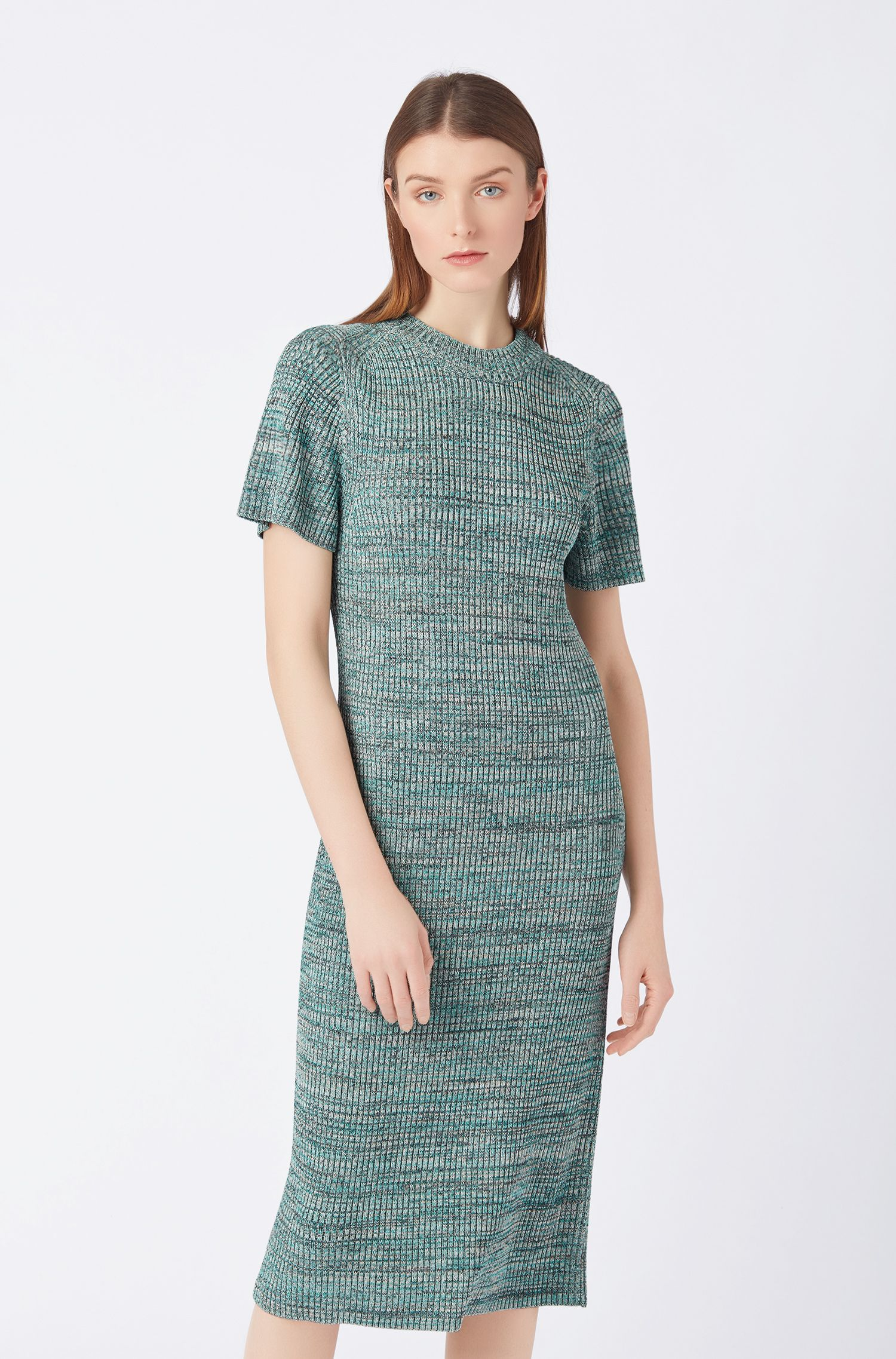 Short-sleeved knitted dress in multicolored mouliné fabric, Patterned