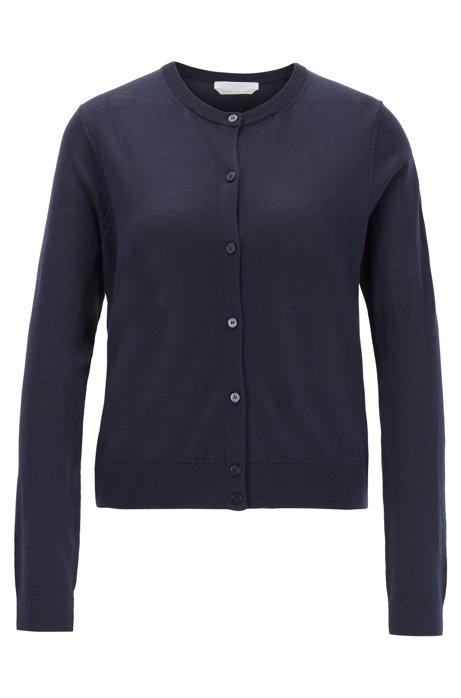 Knitted crew-neck cardigan in virgin wool, Open Blue