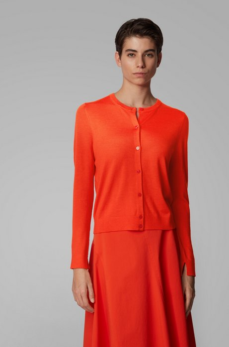 Knitted crew-neck cardigan in virgin wool, Orange