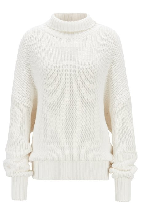 Oversized-fit turtleneck sweater with extra-long sleeves, Natural